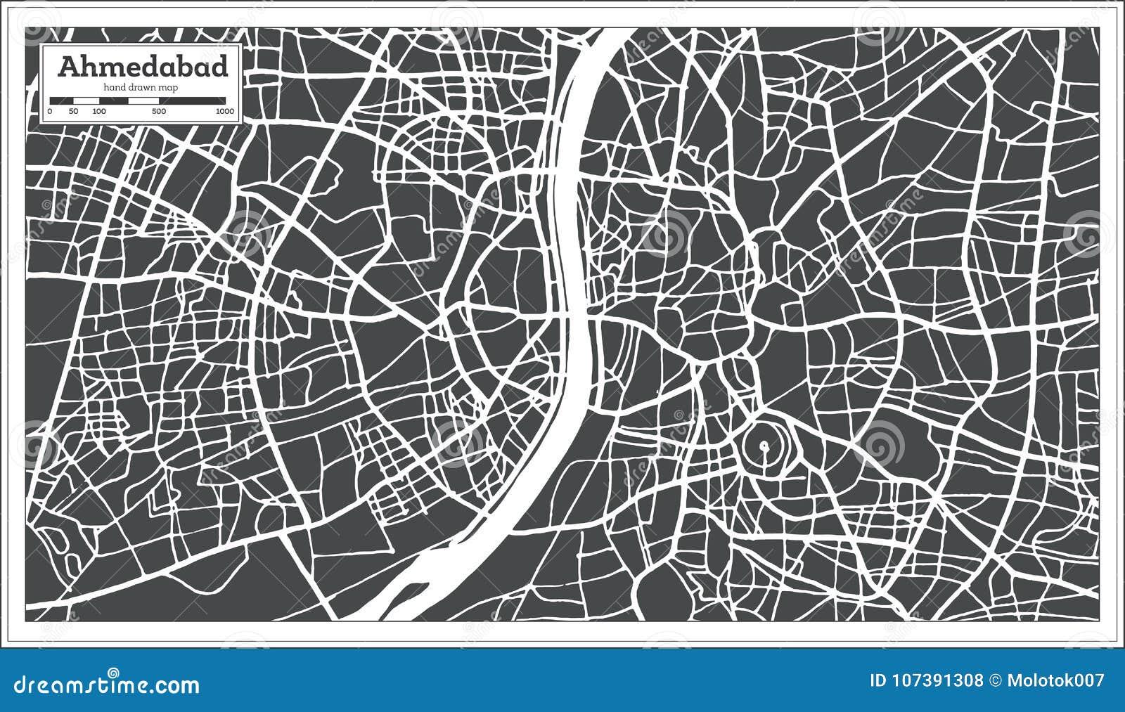 Carte Inde Ahmedabad.Carte De Ville D Inde D Ahmedabad Dans Le Retro Style