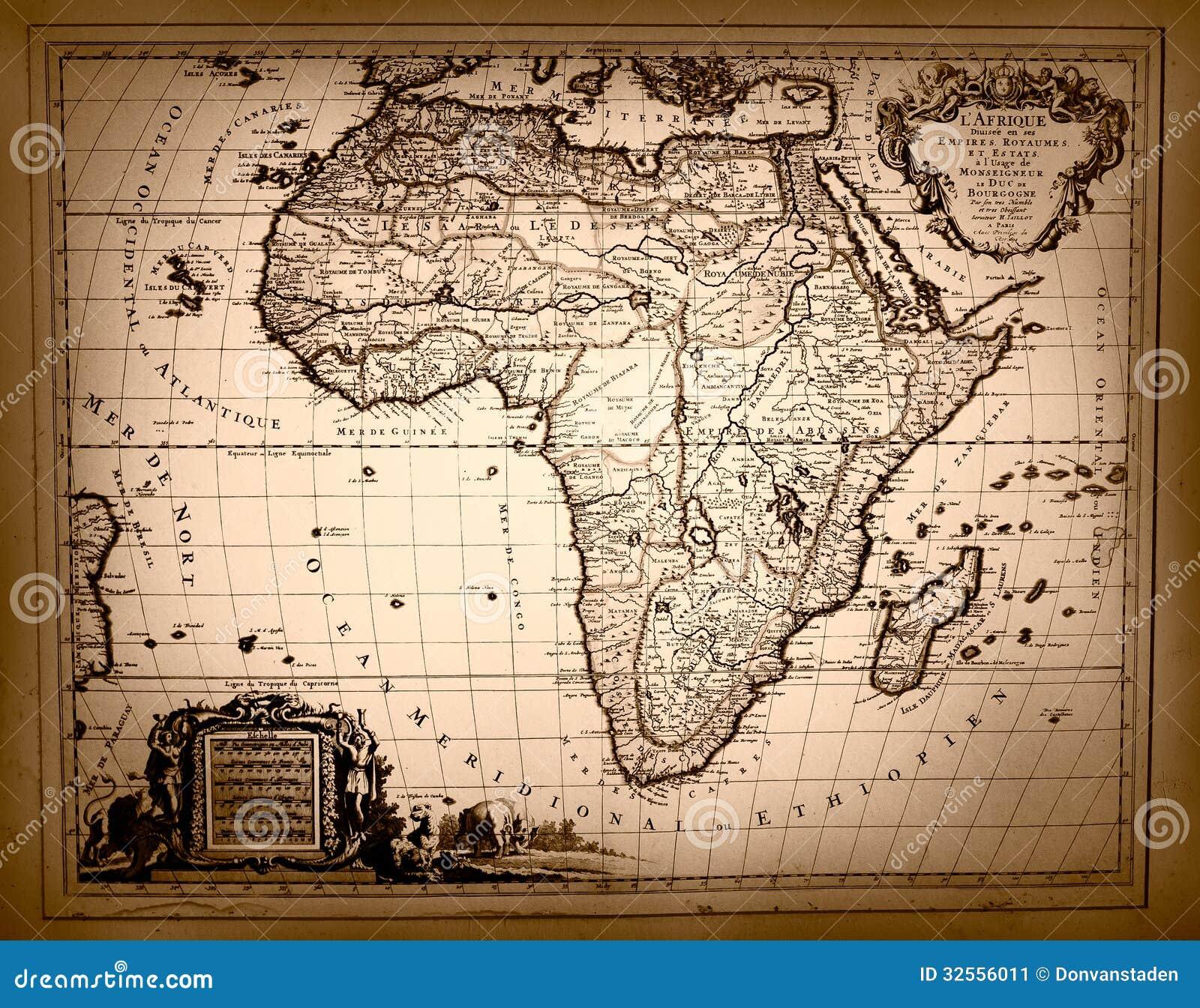 Carte De Lafrique Antique.Carte De Vintage De L Afrique Image Stock Image Du