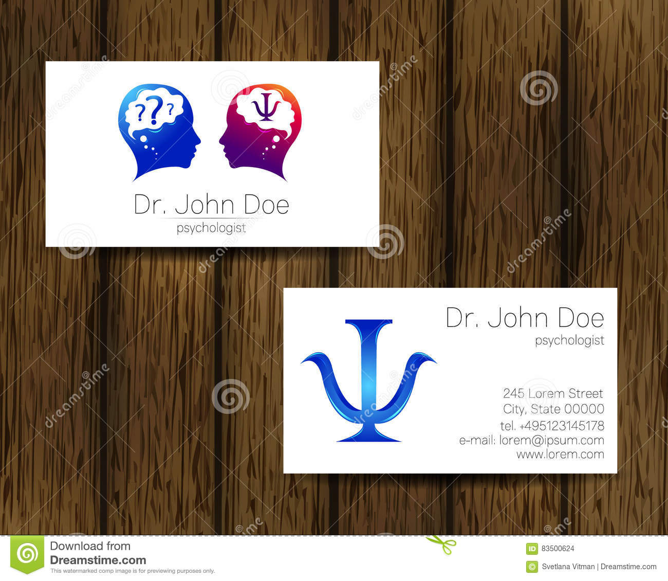 Download Carte De Visite Vecteur Psychologie Logo Moderne Type Crateur Concept Construction Illustration