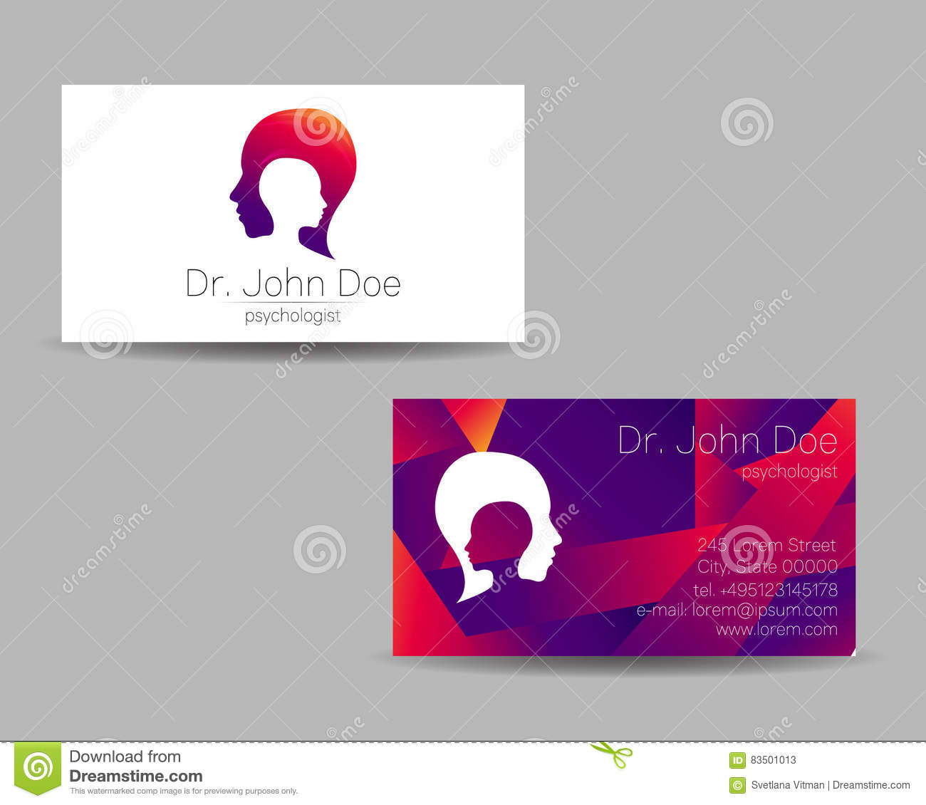 Carte De Visite Vecteur Psychologie Logo Moderne Type Crateur Concept Construction