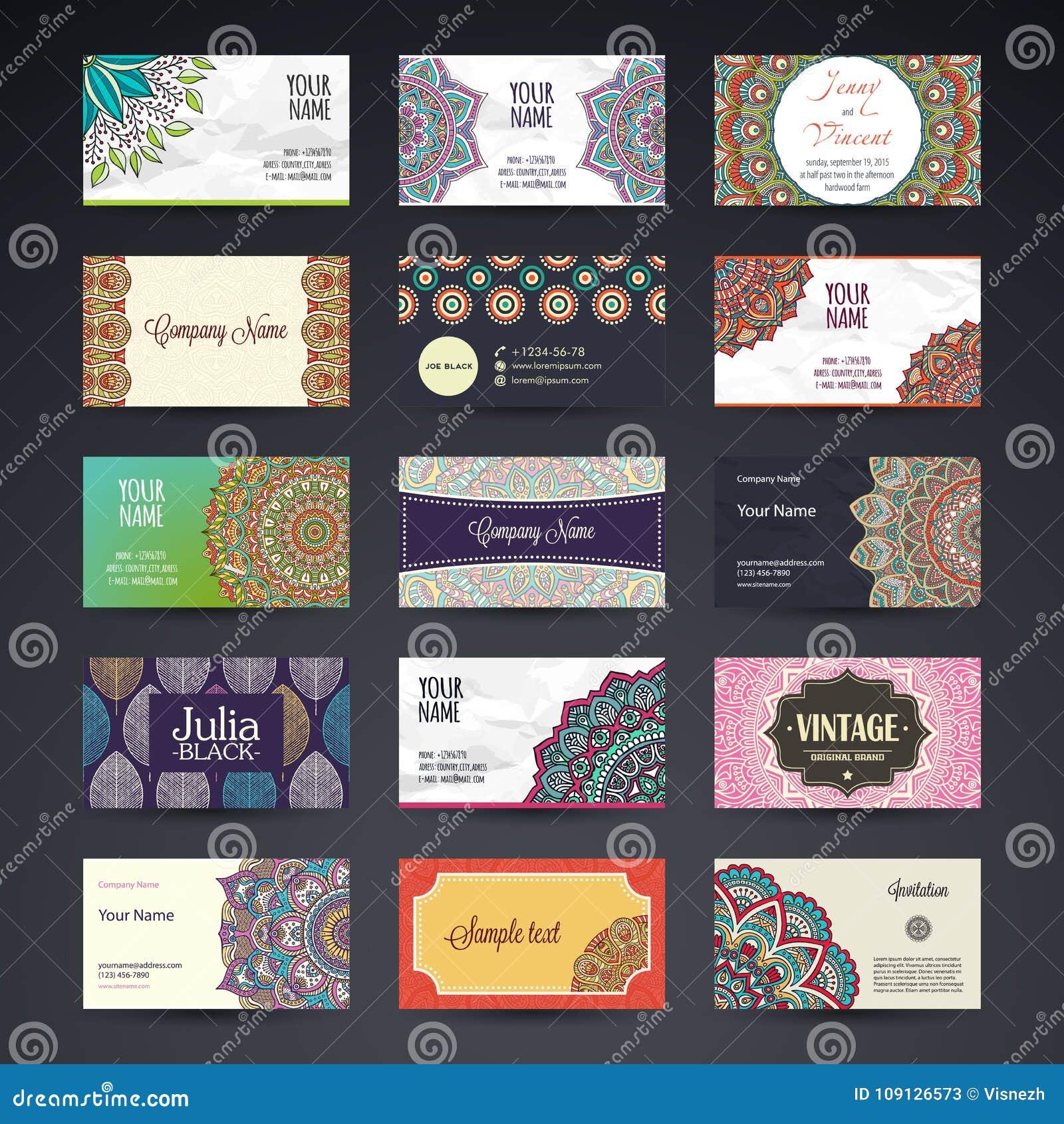 Carte De Visite Professionnelle Lments Dcoratifs Cru Cartes Florales Ornementales Modle Oriental