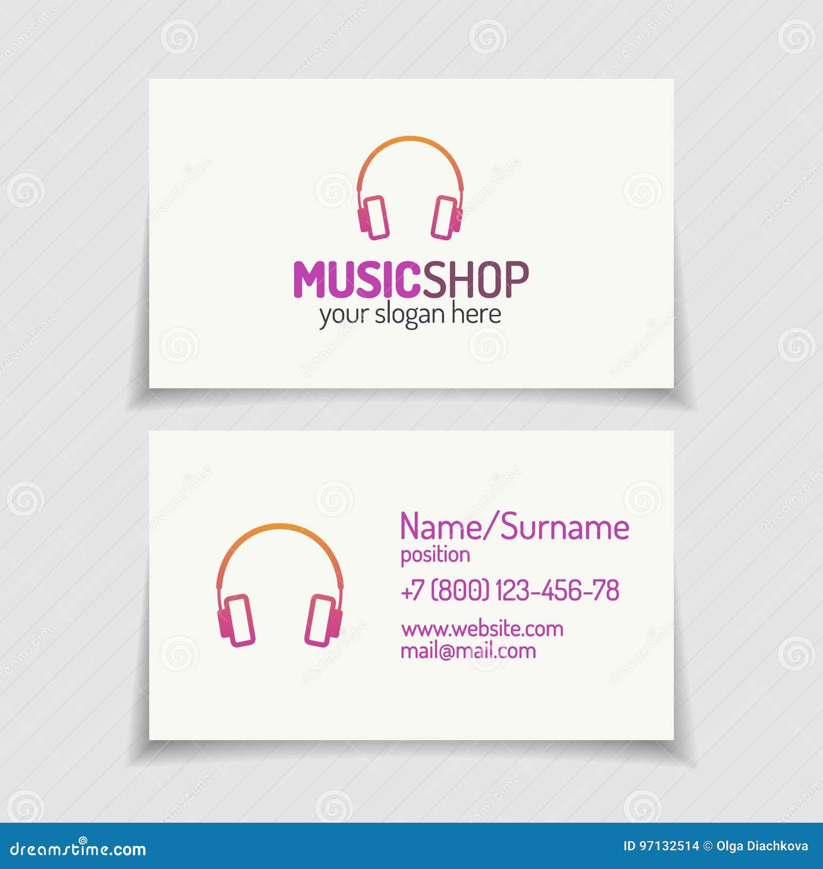 Carte De Visite Professionnelle Avec Le Logo Boutique Musique Les Couteurs