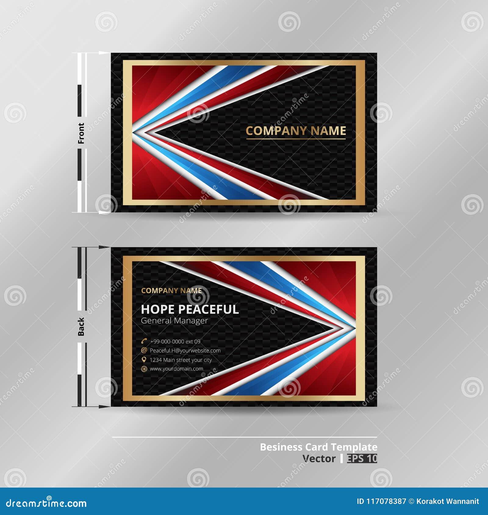 Carte De Visite Professionnelle Dabstraction Couleur Dor Luxe Noir Rouge Bleu Presentation Avec Le Fond Fonce Pointe Vecteur