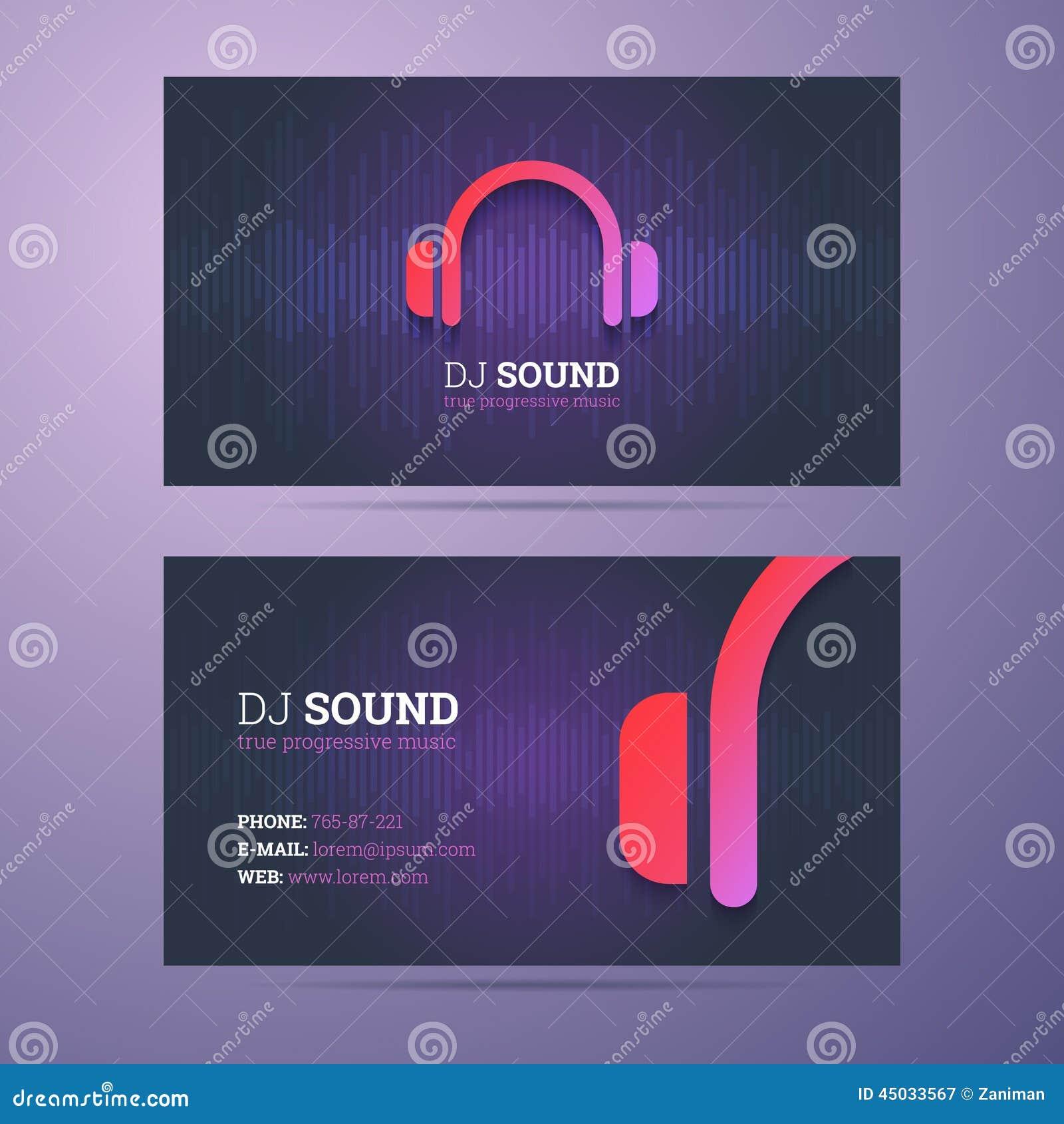 Calibre De Carte Visite Professionnelle Pour Le DJ Et Industrie La Musique Avec Licone Decouteurs Illustration Vecteur