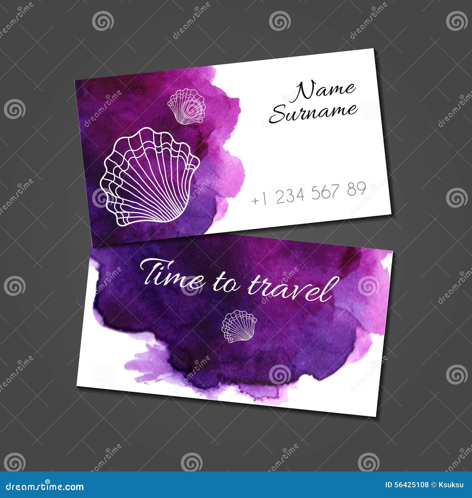 Calibre De Carte Visite Professionnelle Avec Des Coquillages Sur La Tache Pourpre Daquarelle Conception Artistique Vecteur Identite