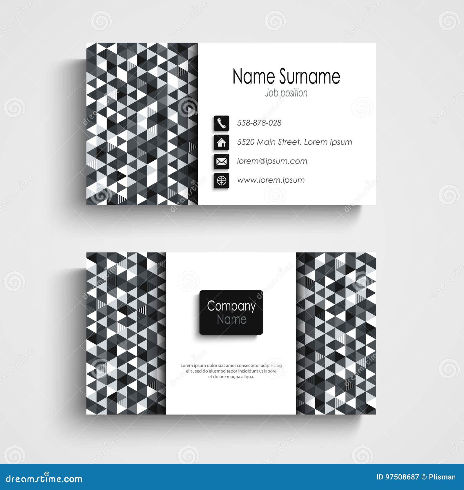 Download Carte De Visite Professionnelle Avec Le Calibre Blanc Noir Abstrait Triangles Illustration