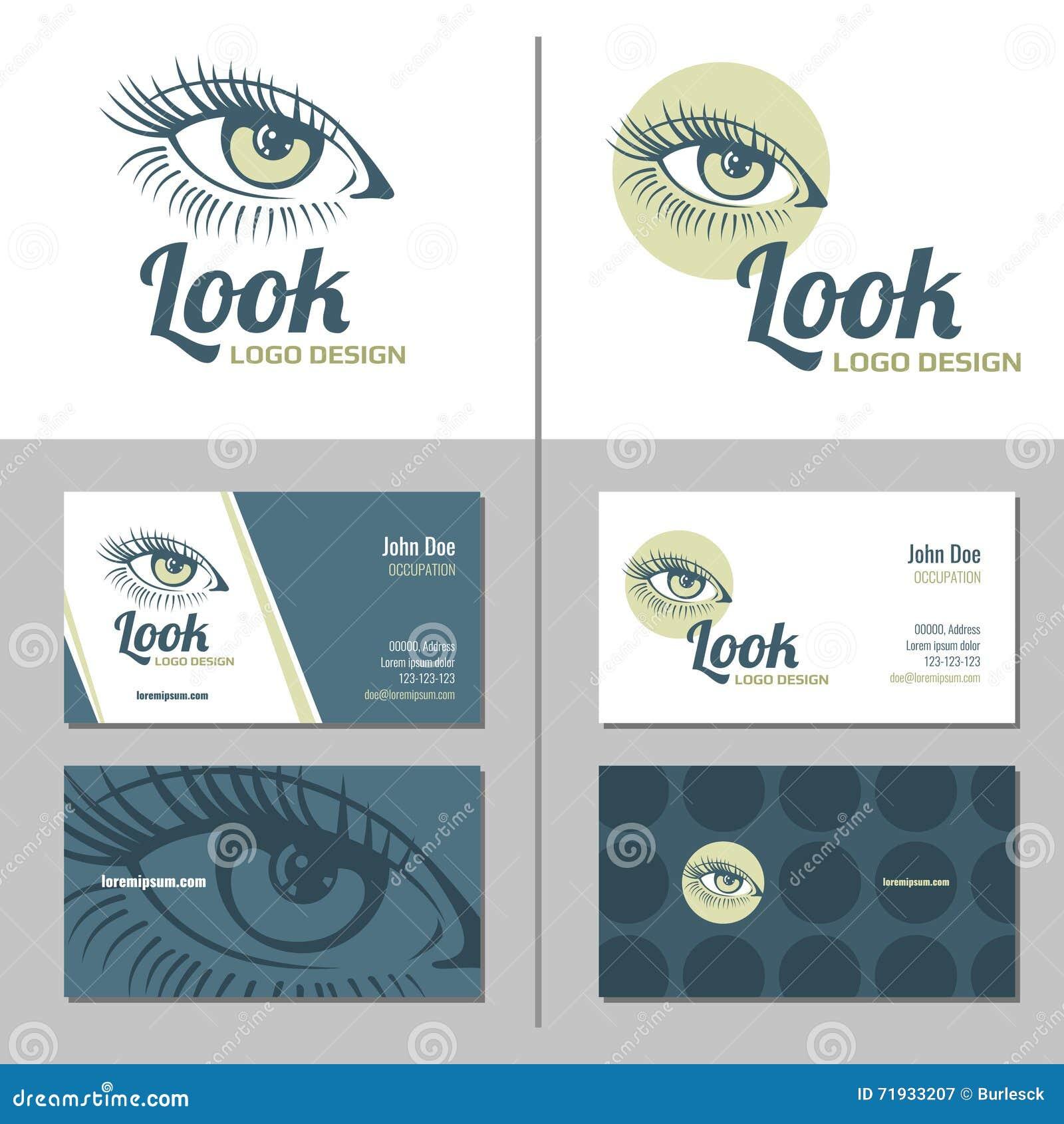 Carte De Visite Professionnelle Avec Le Logo D Oeil Femme Descripteur Vecteur