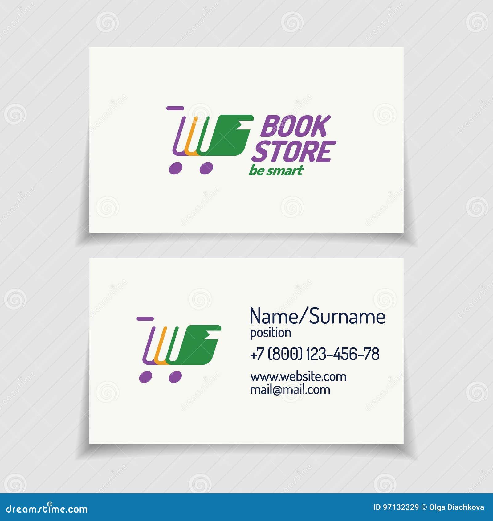Carte De Visite Professionnelle Avec La Couleur Differente Se Composante Livres Logo Librairie Et Caddie Silhouette Pour