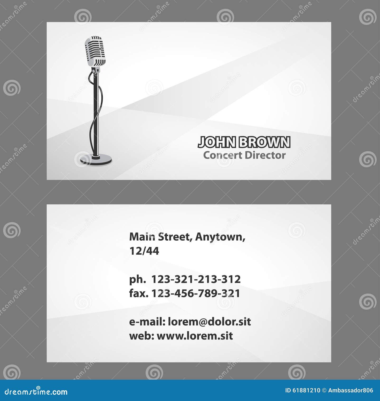 Carte De Visite Professionnelle Avec Le Microphone