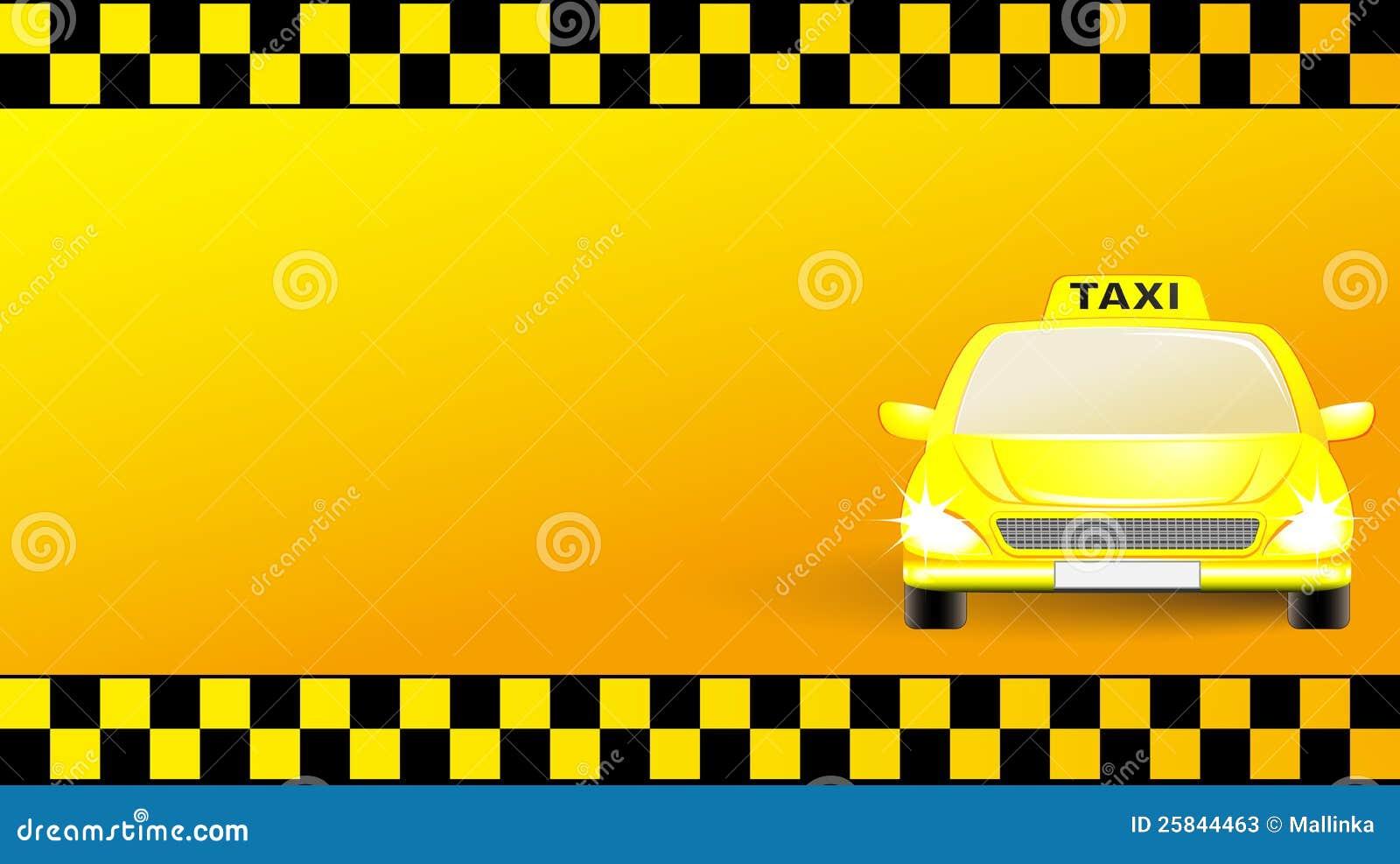 Carte De Visite Professionnelle Avec Le Vehicule Taxi Ville Sur Fond Jaune Transport