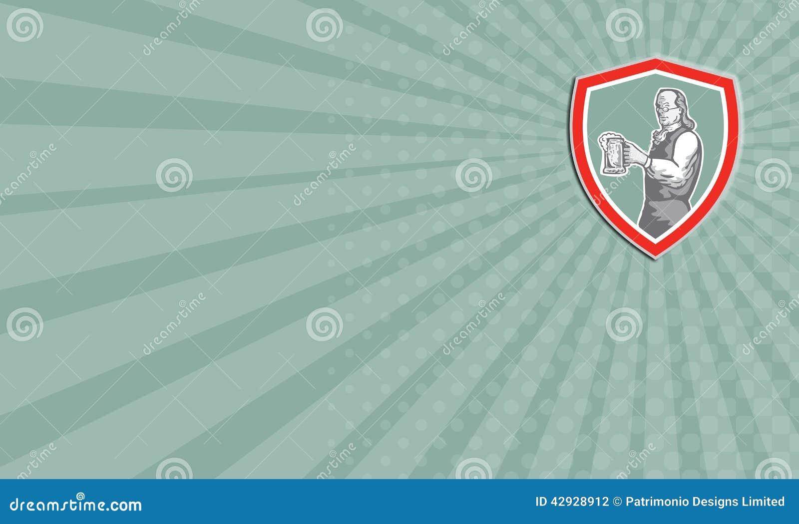 Download Carte De Visite Professionnelle Benjamin Franklin Holding Beer Shield Retro Illustration Stock