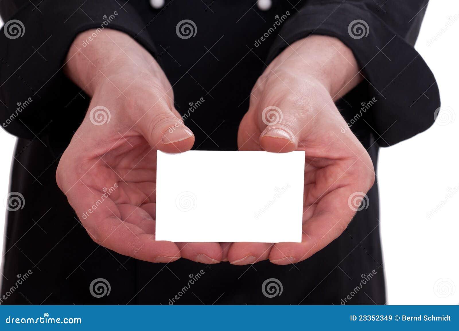 Carte De Visite Professionnelle Blanche Avec Deux Mains