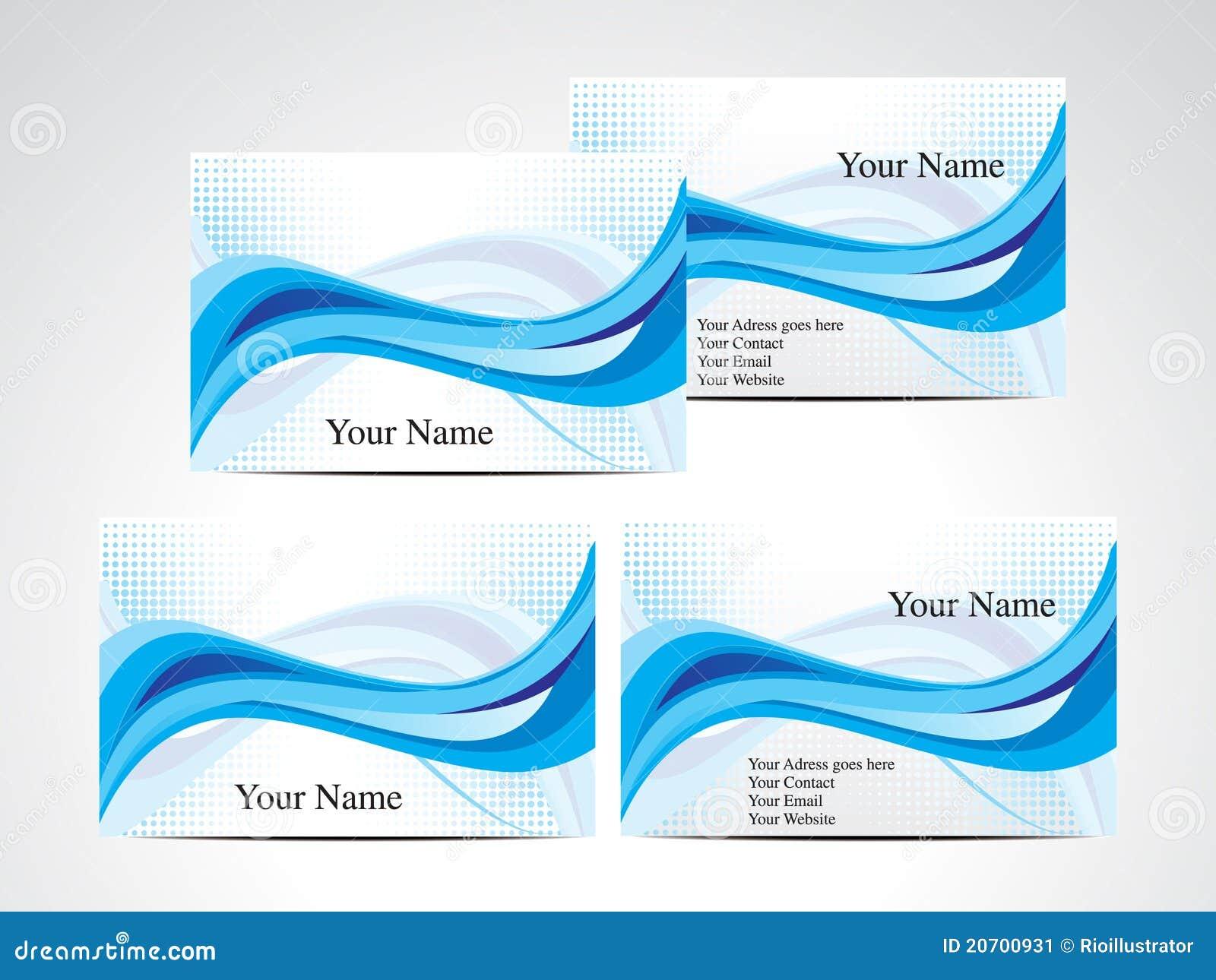 Carte De Visite Professionnelle Bleue Abstraite D Onde