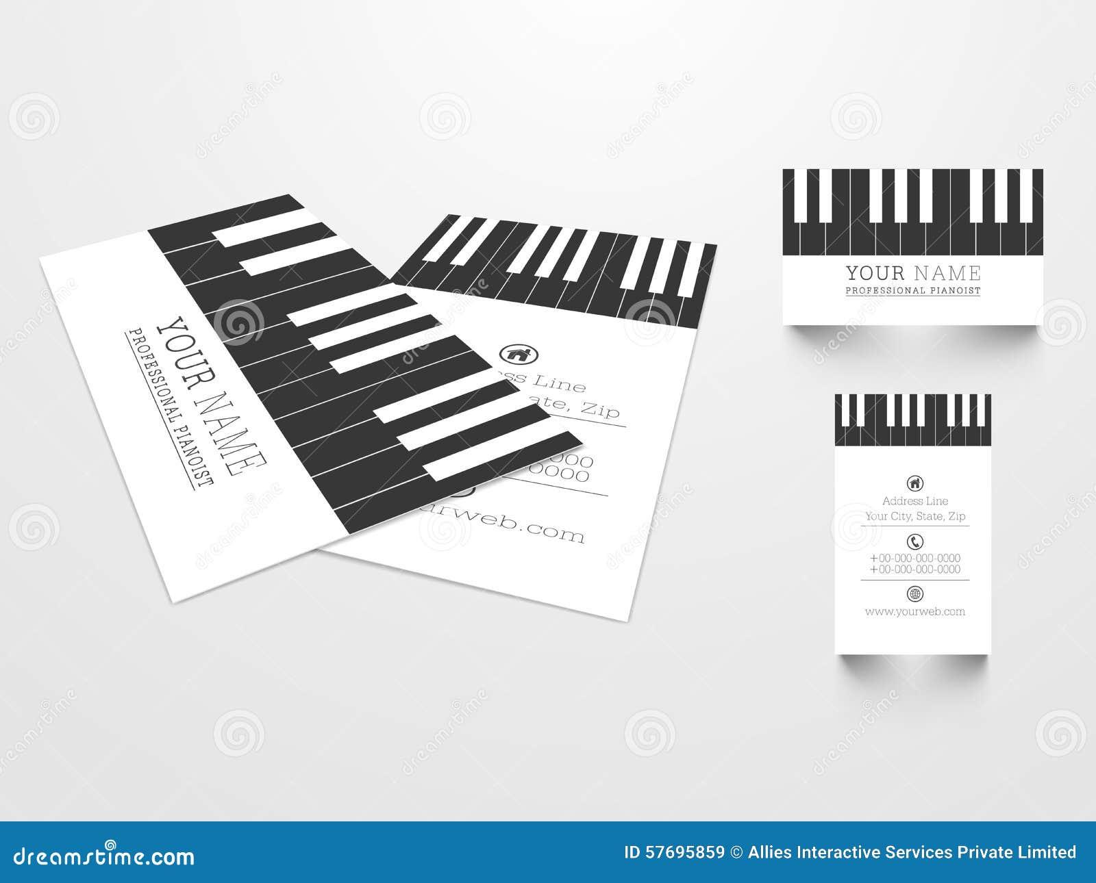 Carte De Visite Professionnelle Crative Pour Le Pianoist