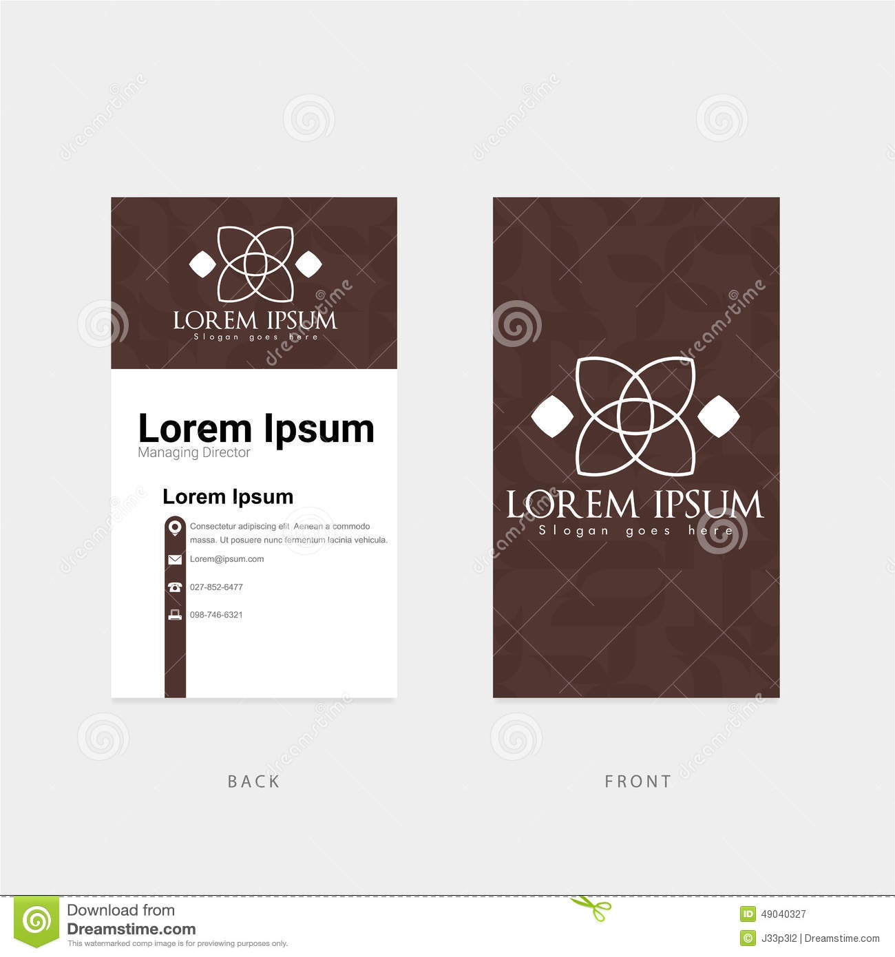 Calibre Vertical De Carte Visite Professionnelle Brown