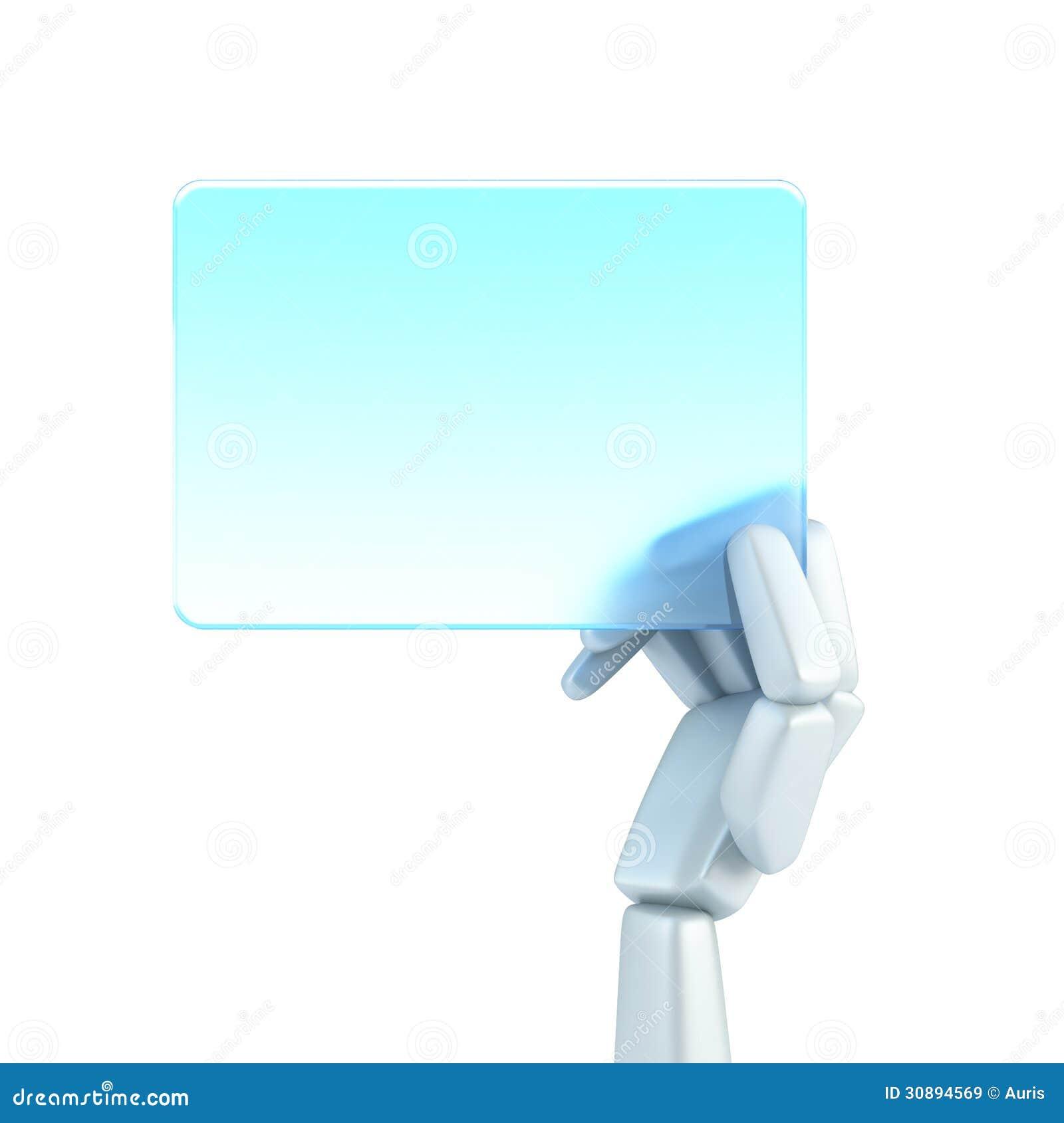 Carte De Visite Professionnelle Blanc Prise La Main Du Robot Symbolique Rendu 3d Disolement
