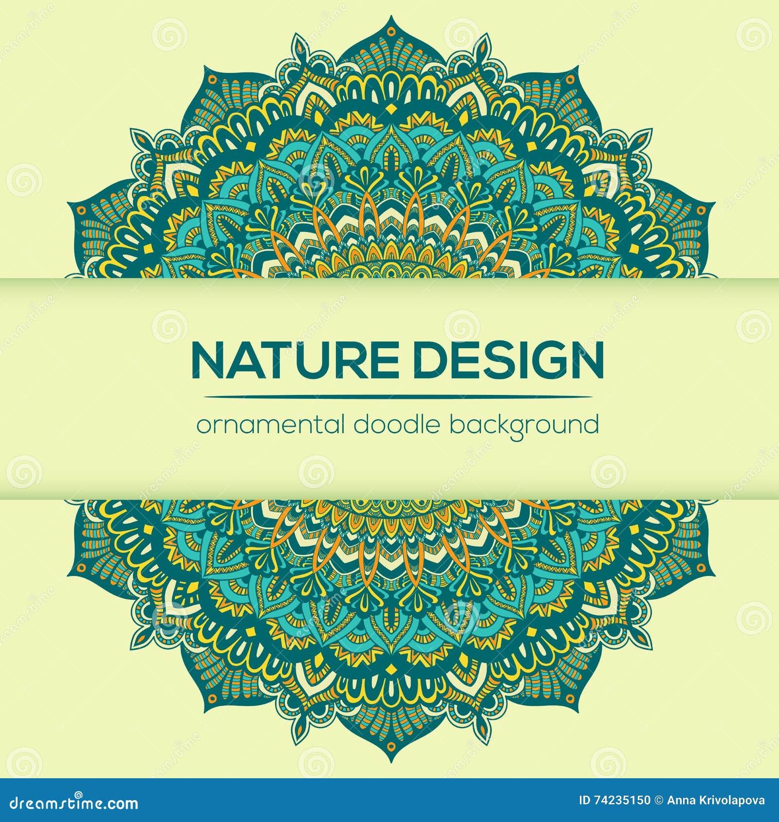 Carte De Visite Professionnelle Cru Vecteur Mandala Design Fond Ornemental Griffonnage