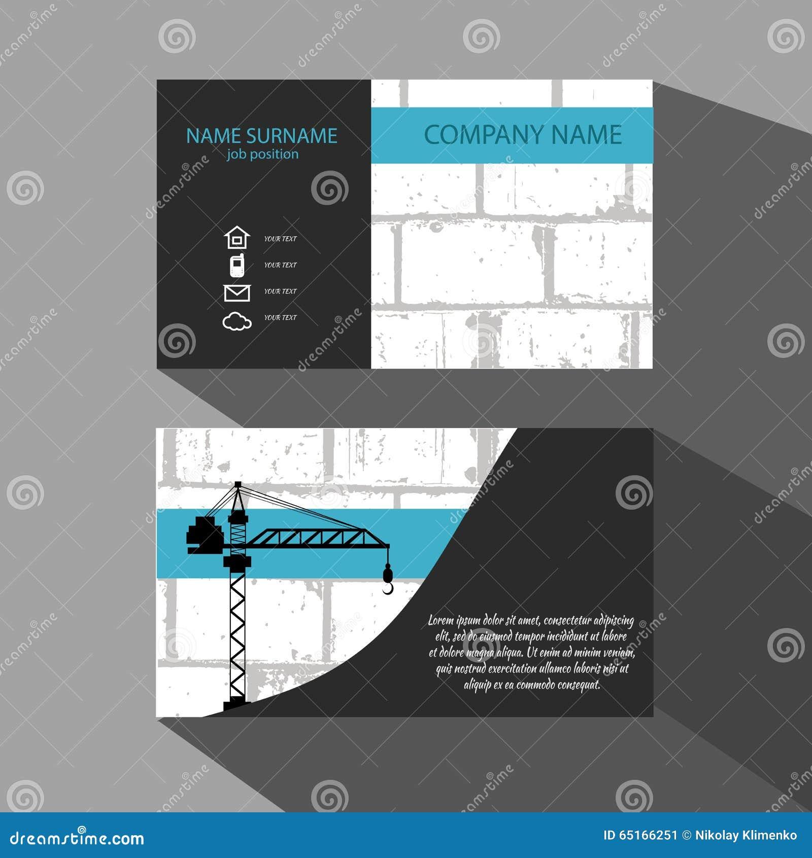 Carte De Visite Professionnelle Mur Briques Et Grue Cran Protecteur