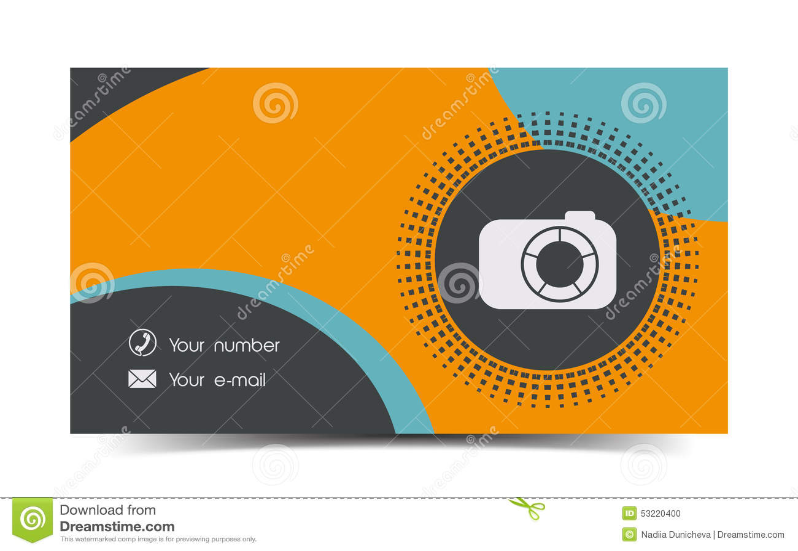 Carte De Visite Professionnelle Photographe Dans Un Style Plat