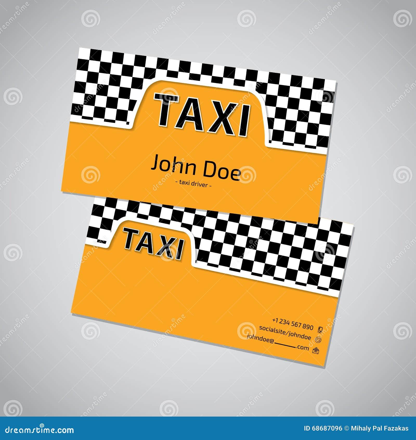 Carte De Visite Professionnelle Taxi Avec Le Symbole Cabine