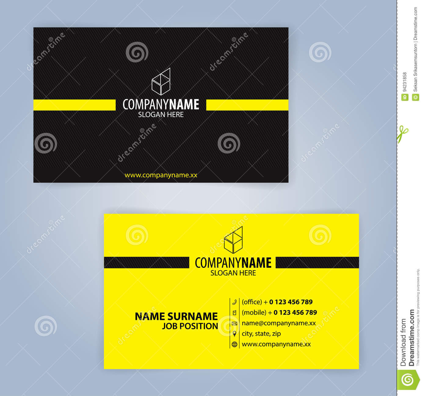 Download Carte De Visite Professionnelle Jaune Et Noir Illustration Vecteur