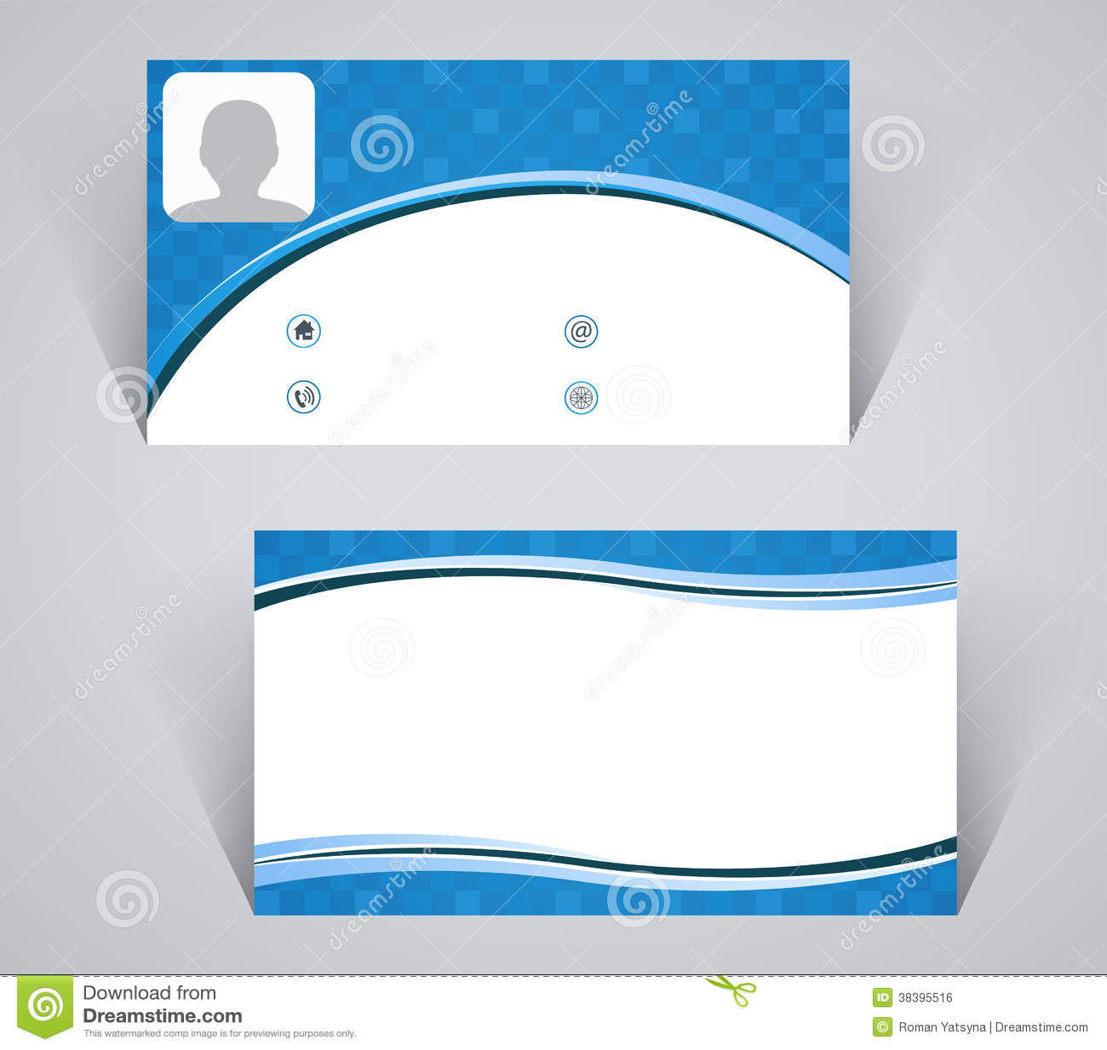 Carte De Visite Professionnelle Modle Simple Couleur Bleue Illustration Stock