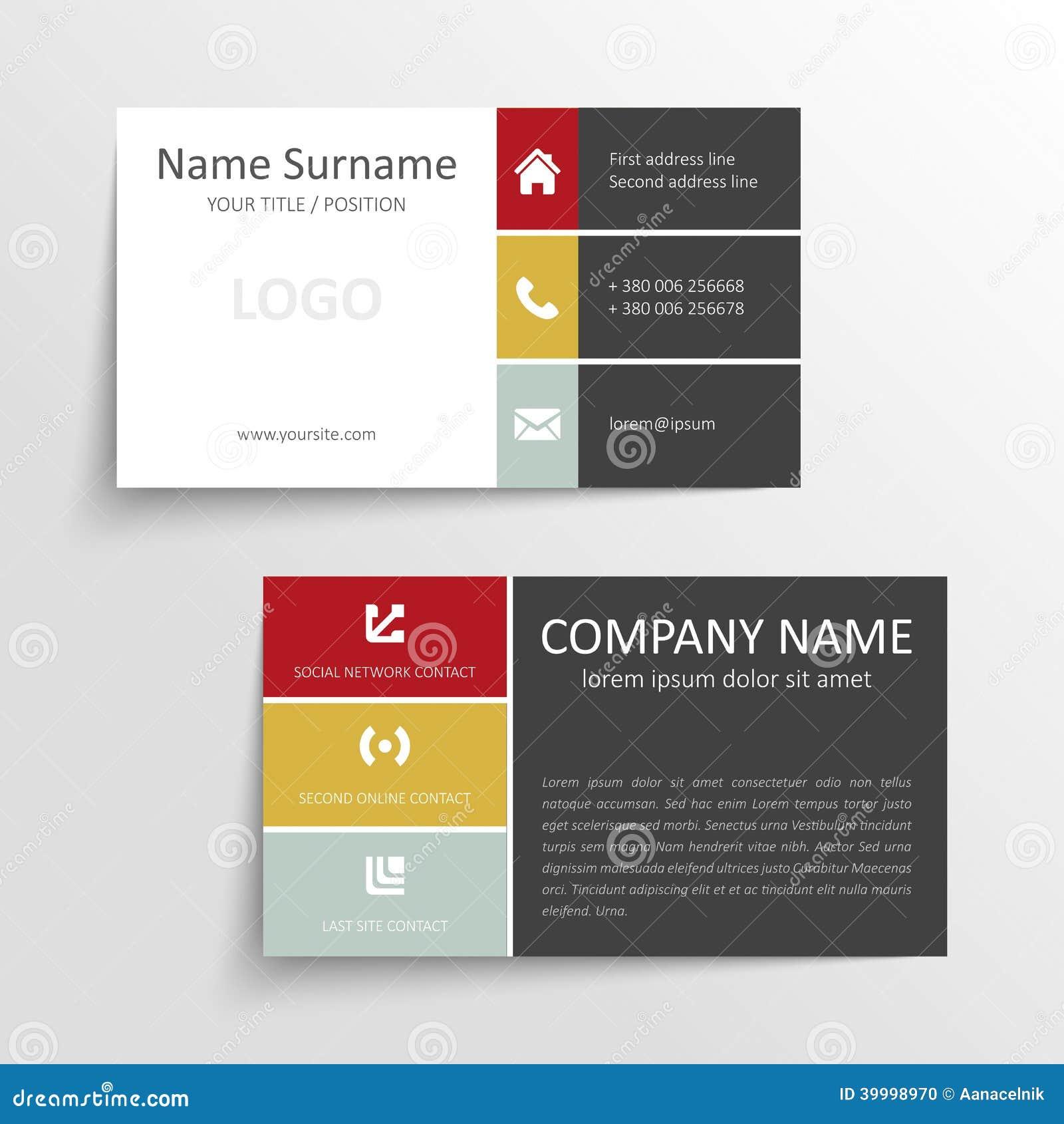 Calibre Simple Moderne De Carte Visite Professionnelle Avec Linterface Utilisateurs Plate