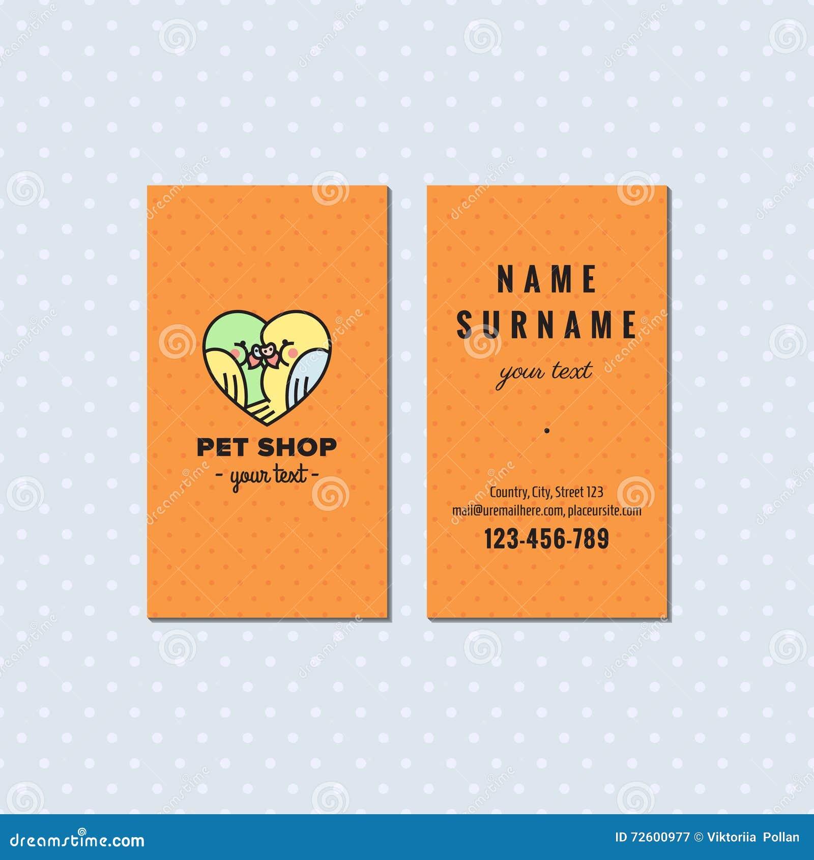 Carte De Visite Professionnelle Orange Vecteur Magasin Btes Logo Multicolore Mignon