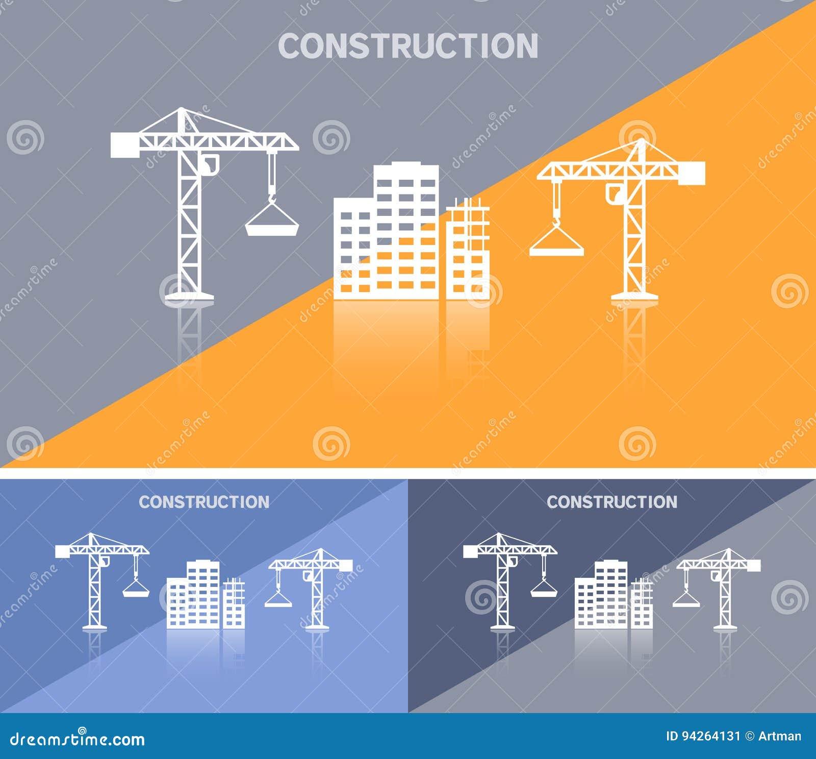 Calibre De Carte Visite Professionnelle Ou Conception Banniere Web Avec Licone Chantier Construction