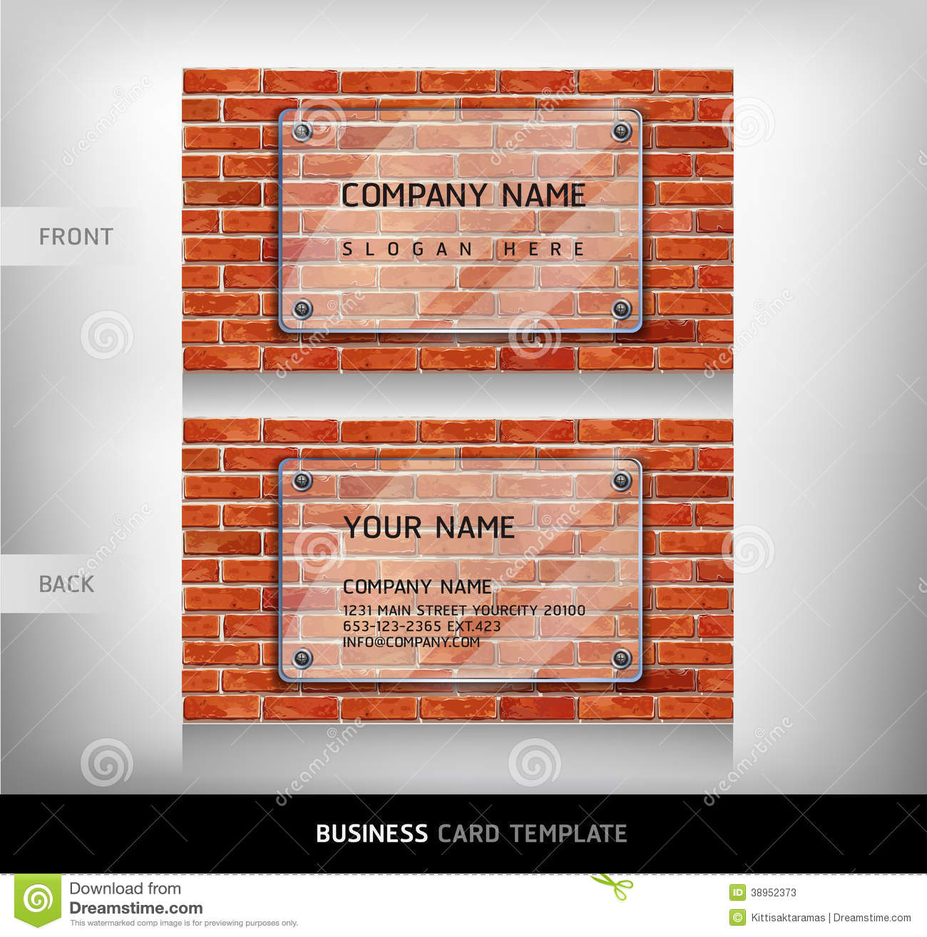 Download Carte De Visite Professionnelle Rouge Mur Briques Illustration Stock