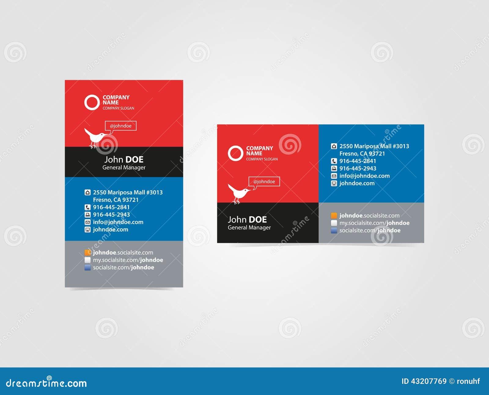 Carte De Visite Professionnelle Sociale Pour Des Usages Multiples Calibre Graphique Vecteur