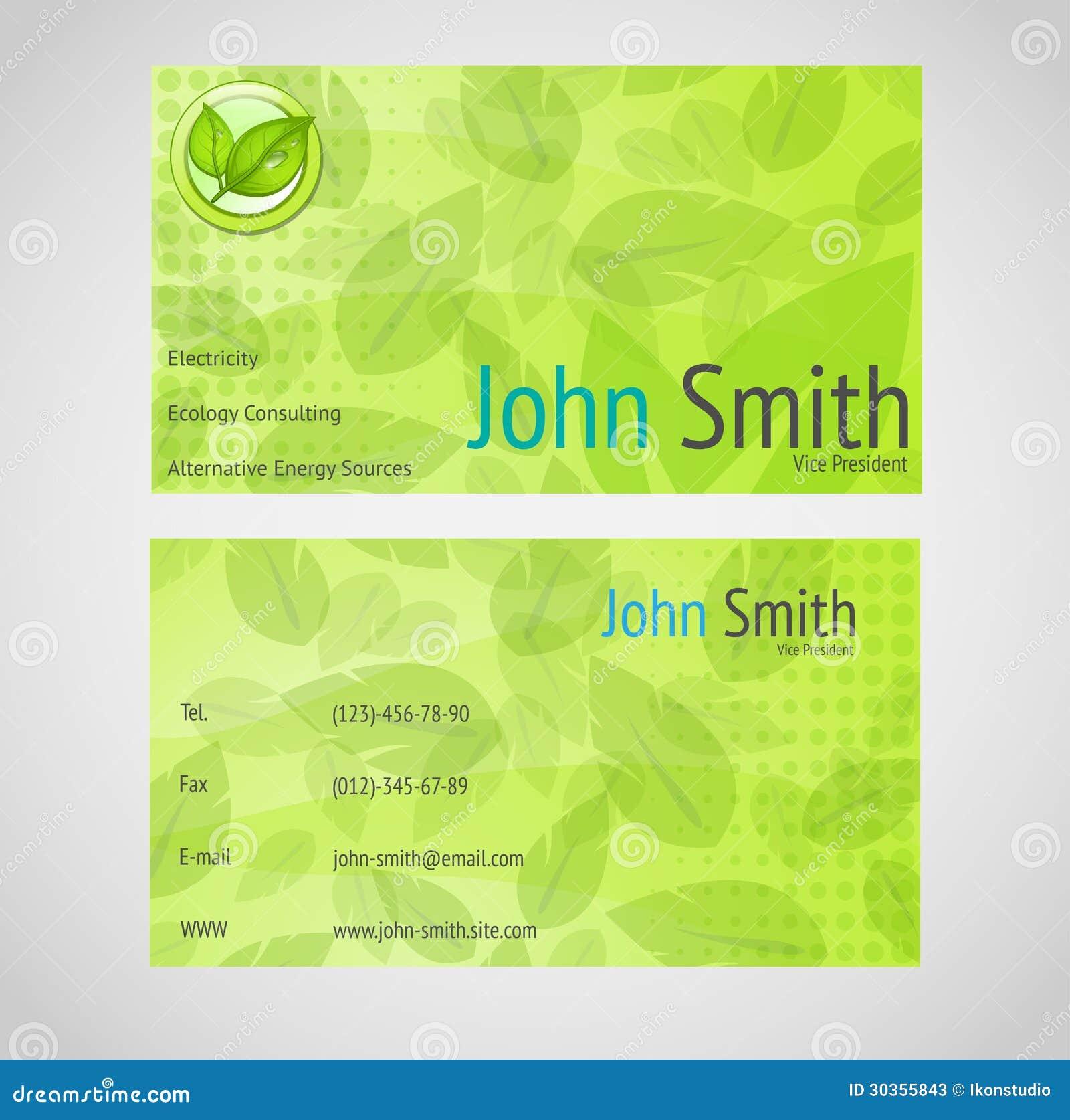 Carte De Visite Professionnelle Verte Avec La Norme 90 X 50 Millimetres Dans Des Couleurs Vertes Et Feuilles
