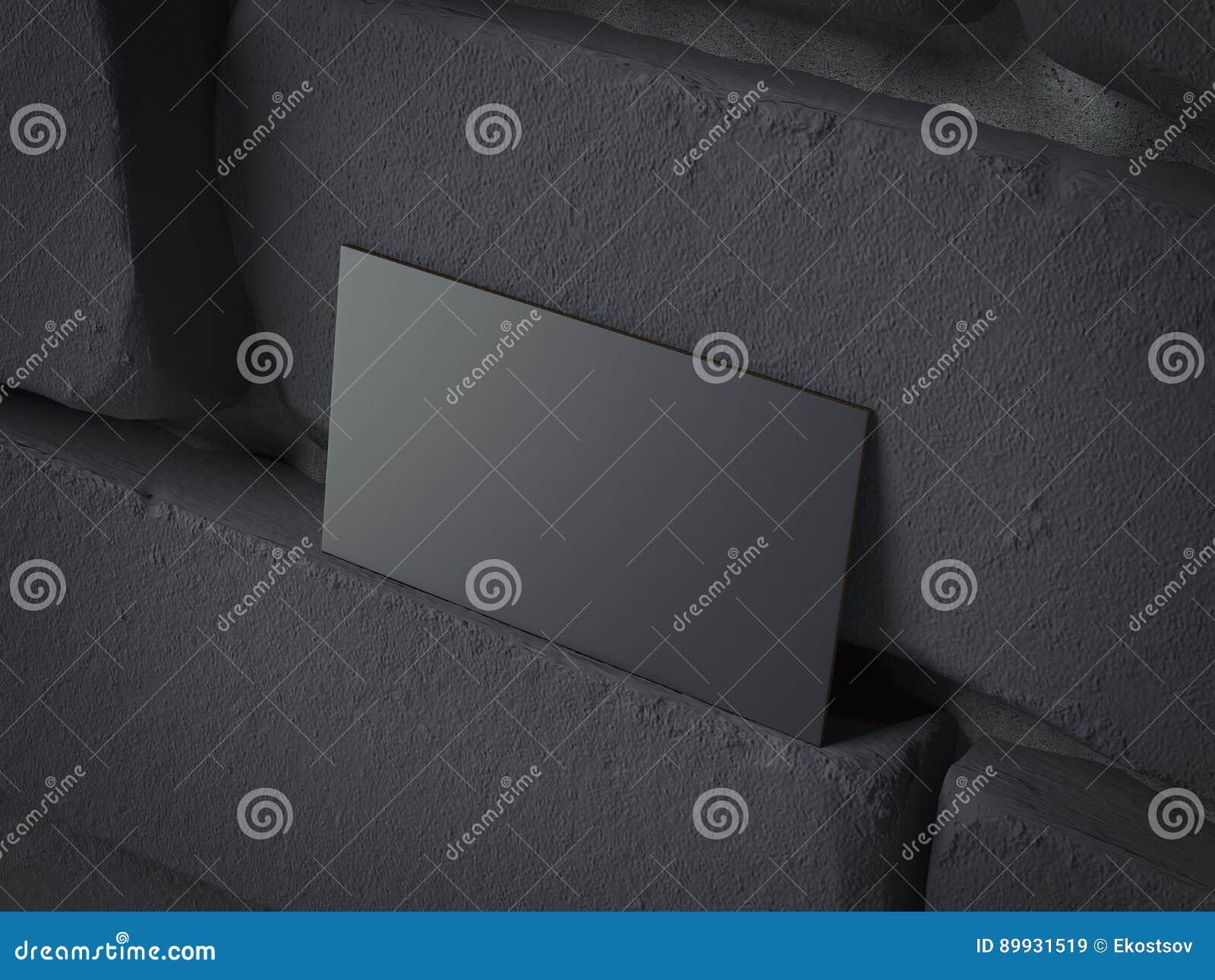 Carte De Visite Professionnelle Noire Vierge Sur Le Brickwall Fonce Rendu 3d