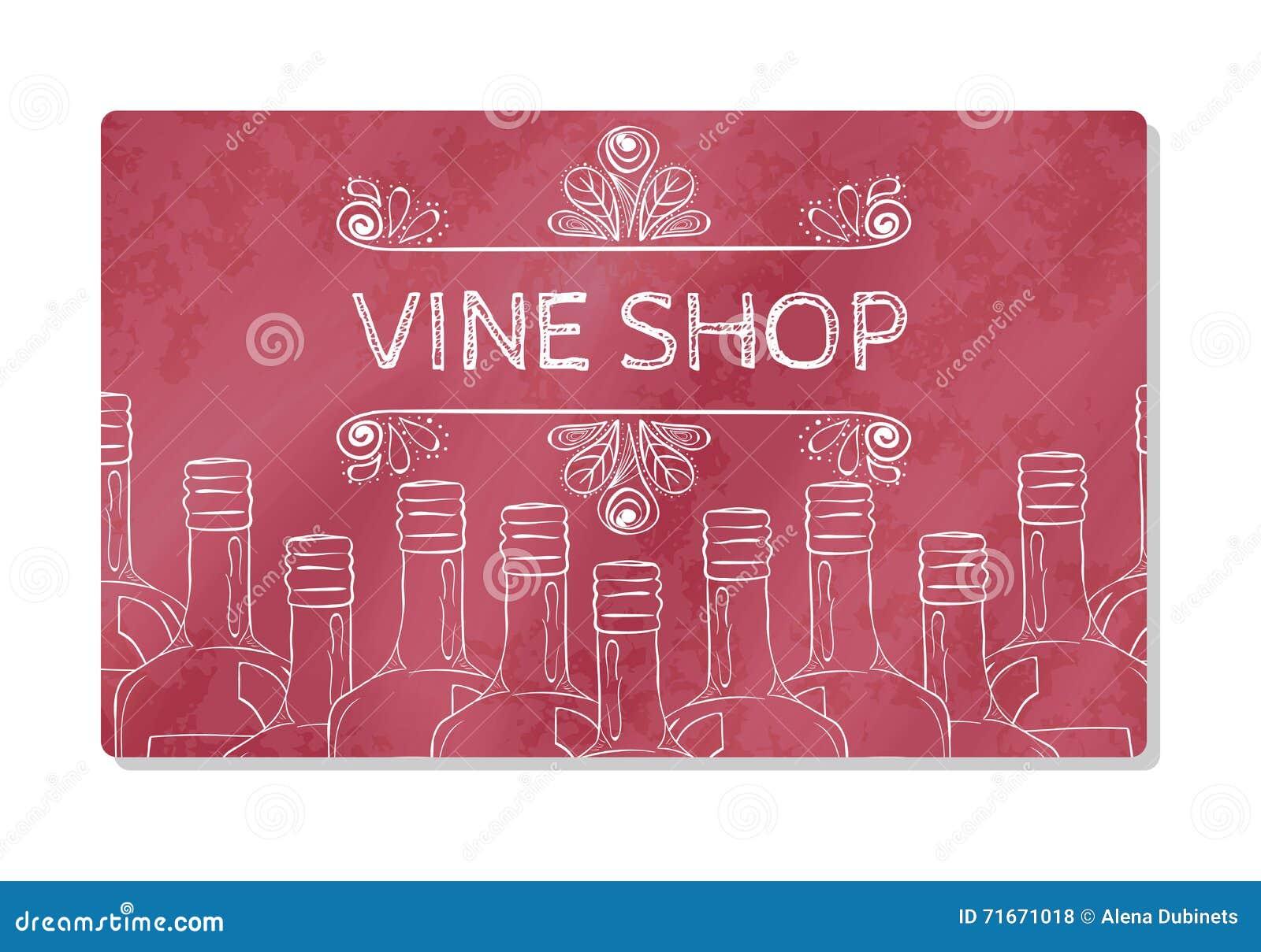 Carte De Visite Professionnelle Ou Devanture Magasin En Vente Des Vins Mousseux Illustration Vecteur