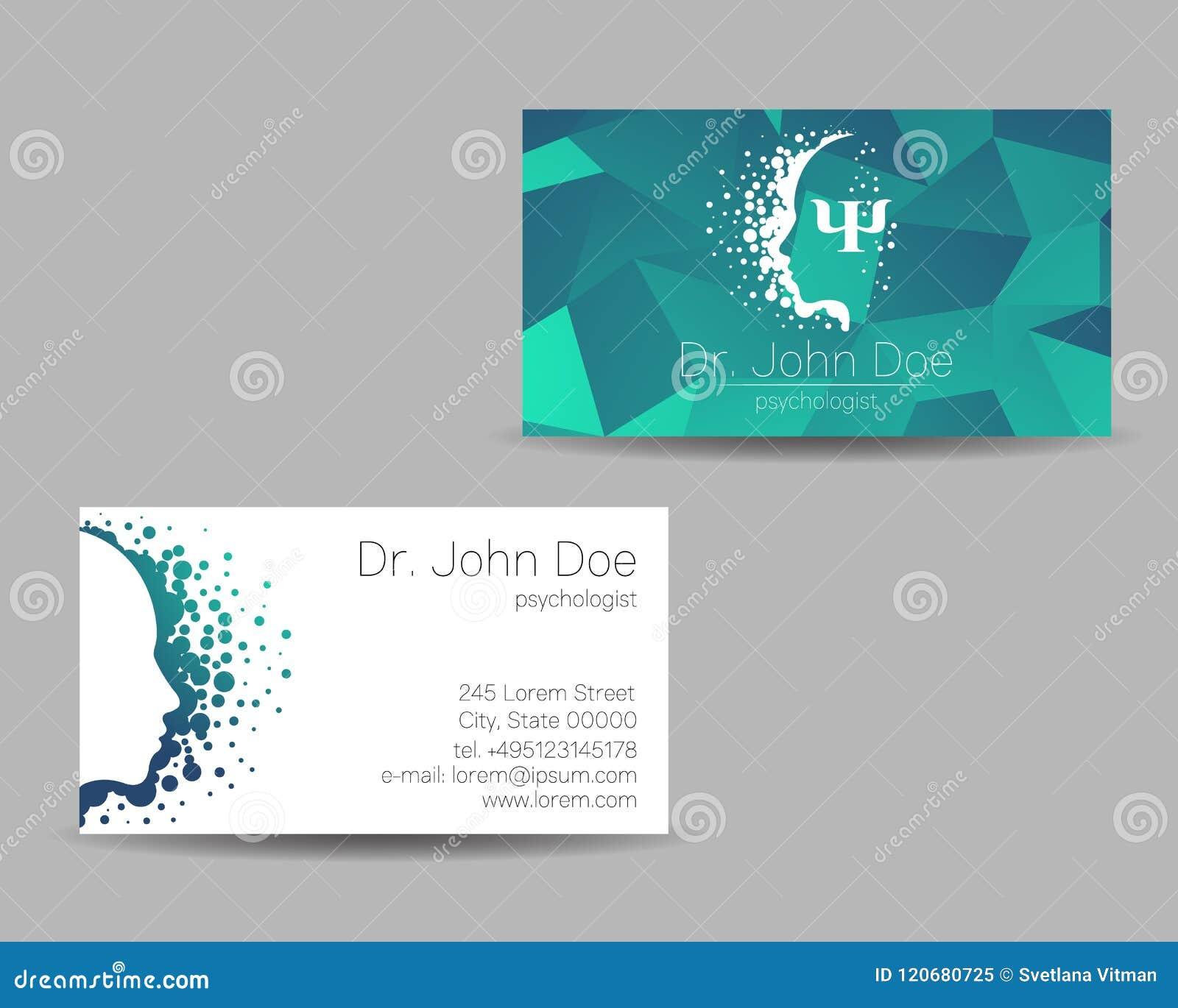 Carte de visite de vecteur de psychologie Signe moderne Type créateur Concept de construction Société de marque Couleur verte d i