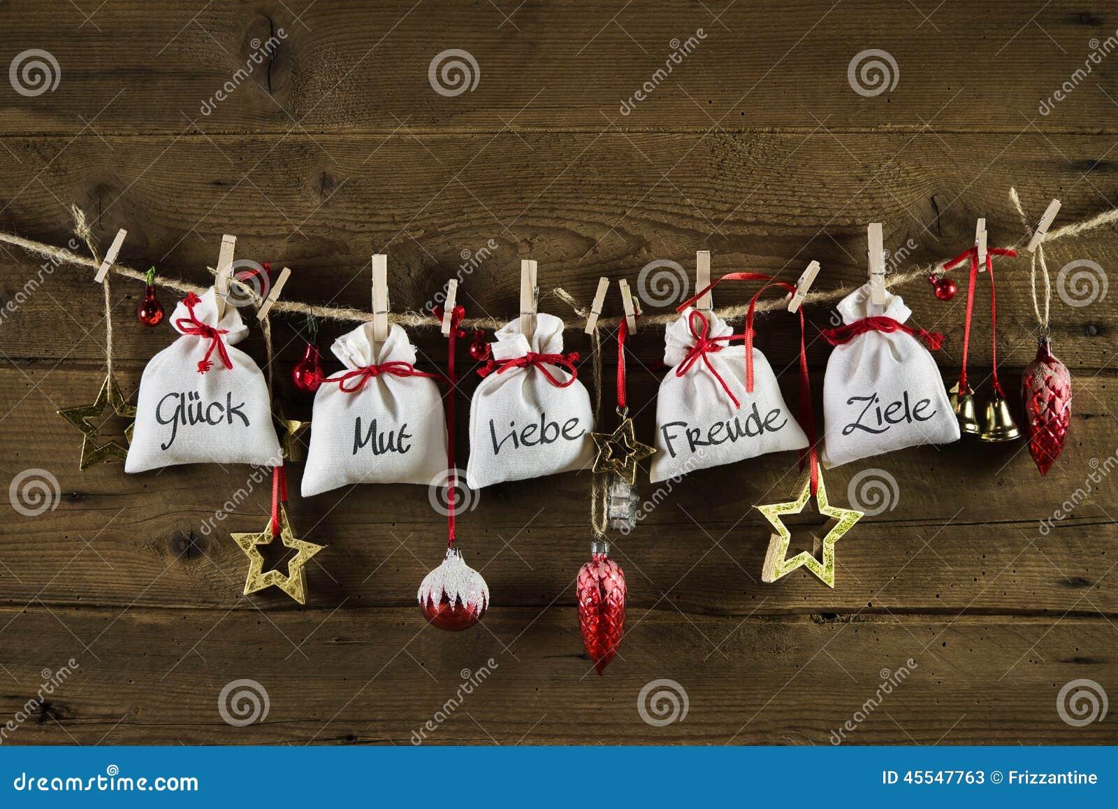 Carte De Voeux Allemande De Noël Avec Des Présents Du ...