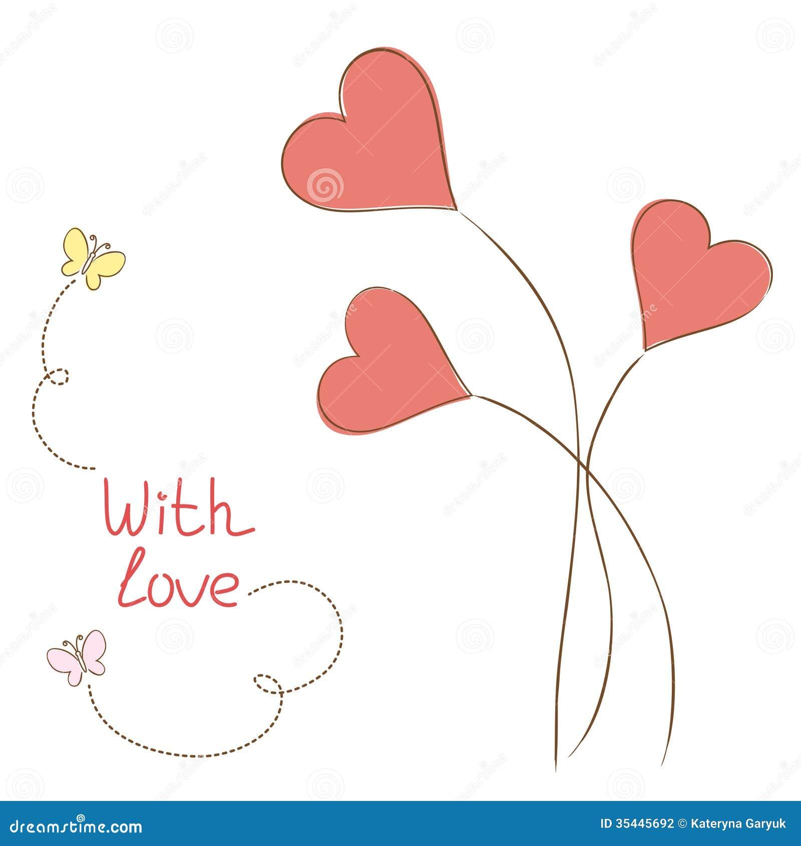 Carte de voeux avec des coeur fleurs photographie stock image 35445692 - Fleurs en forme de coeur ...