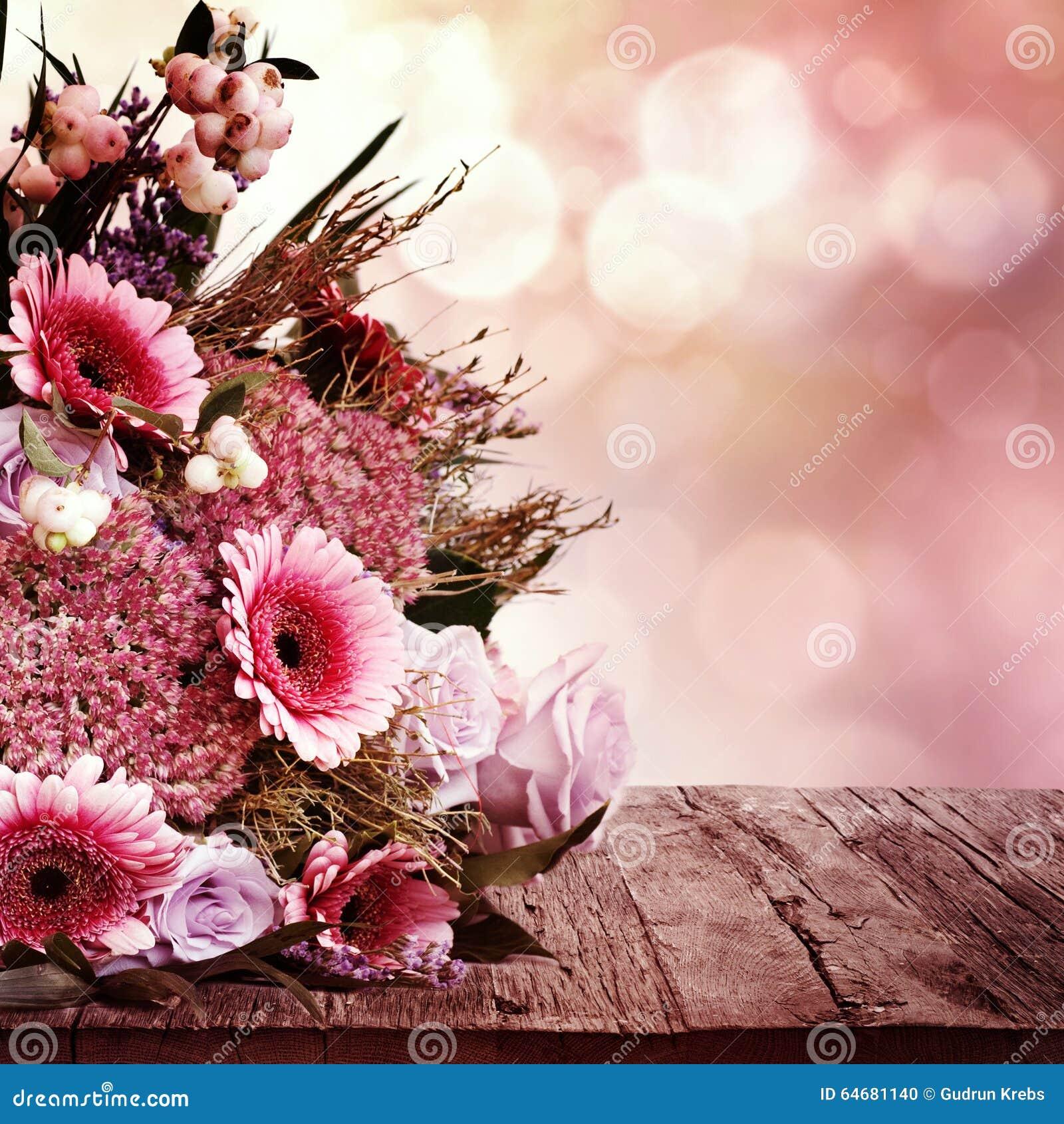carte de voeux avec le bouquet de fleurs photo stock image 64681140. Black Bedroom Furniture Sets. Home Design Ideas