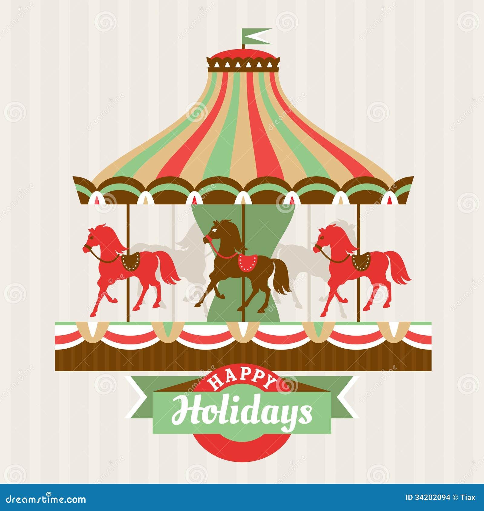 Carrousel Dessin carte de voeux avec le carrousel illustration de vecteur