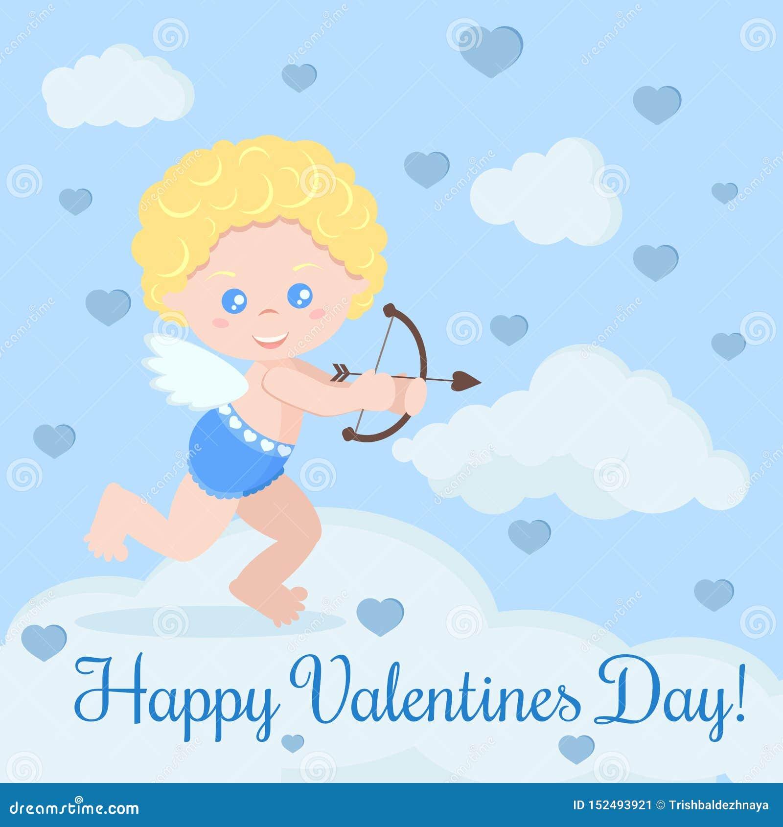 Carte de voeux avec le cupidon romantique mignon avec le tir à l arc avec des nuages et des coeurs