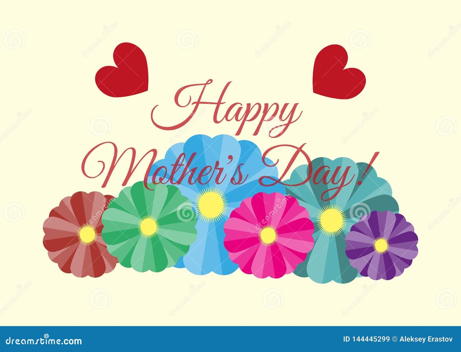 Carte de voeux avec le jour de mère heureux des textes ! Fleurs et coeurs sur le fond clair