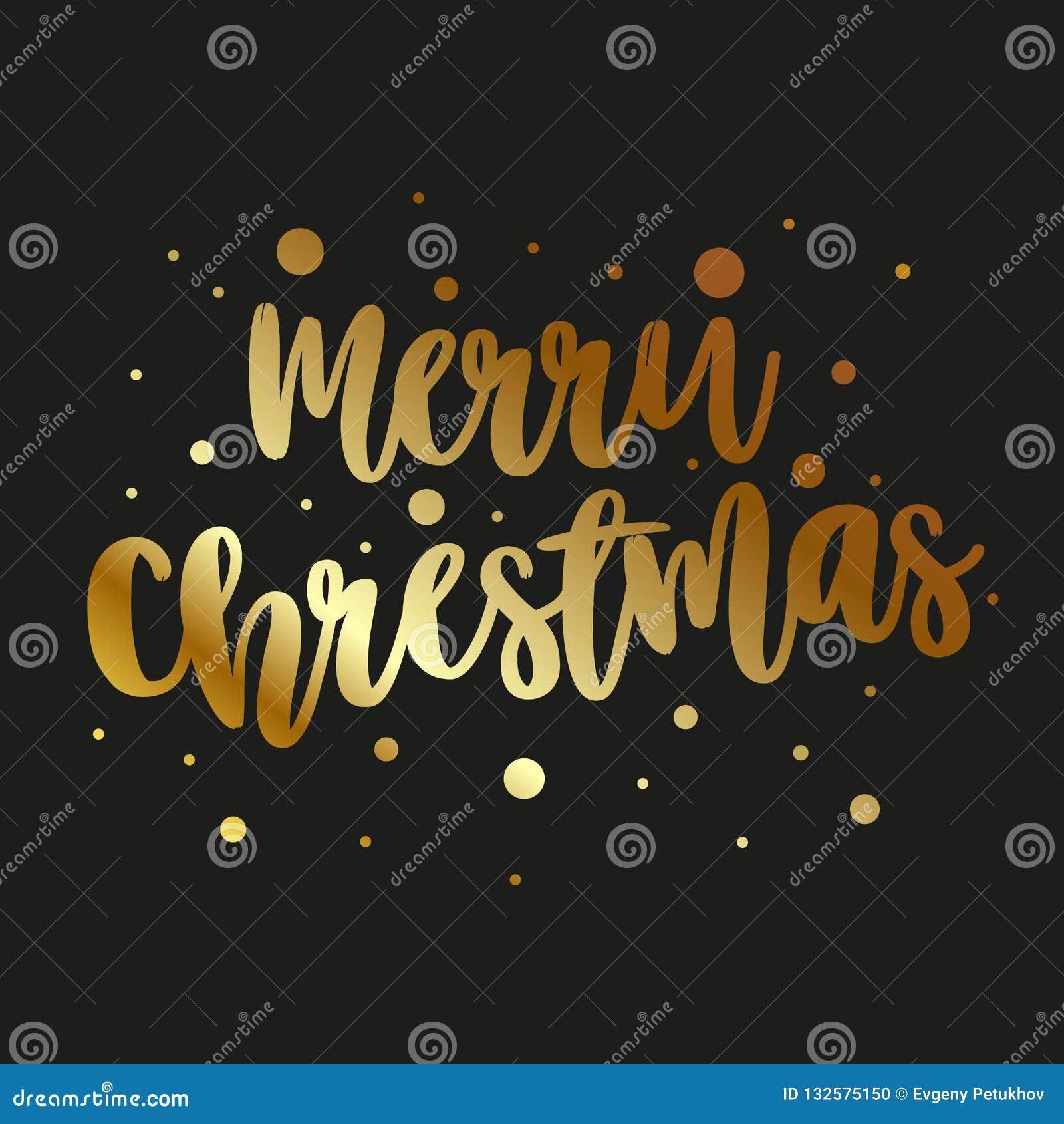 Carte de voeux avec le Joyeux Noël d inscription d or sur un fond foncé