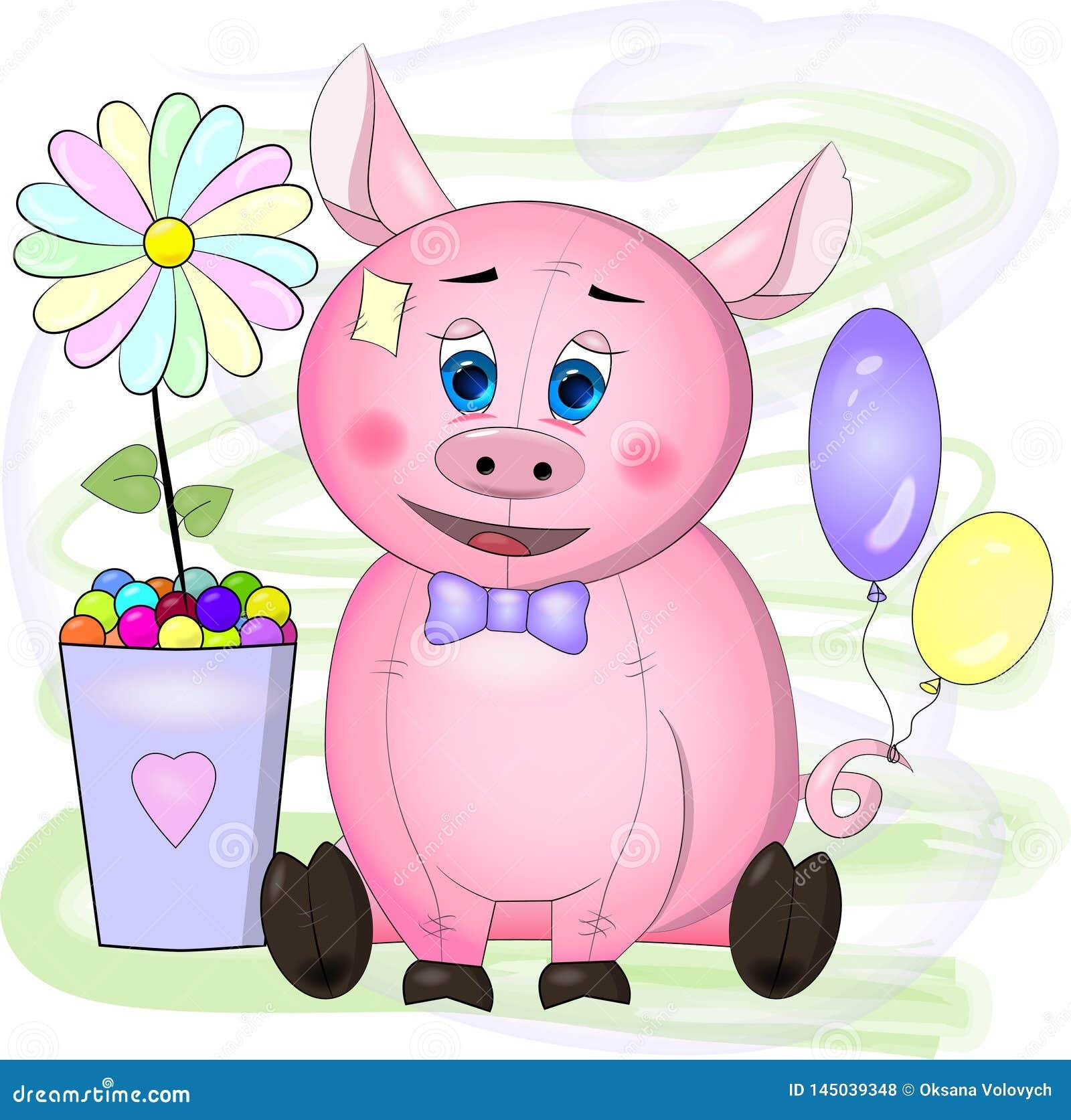 Carte de voeux avec le porc de rose de bande dessinée avec les yeux bleus, la fleur et les boules
