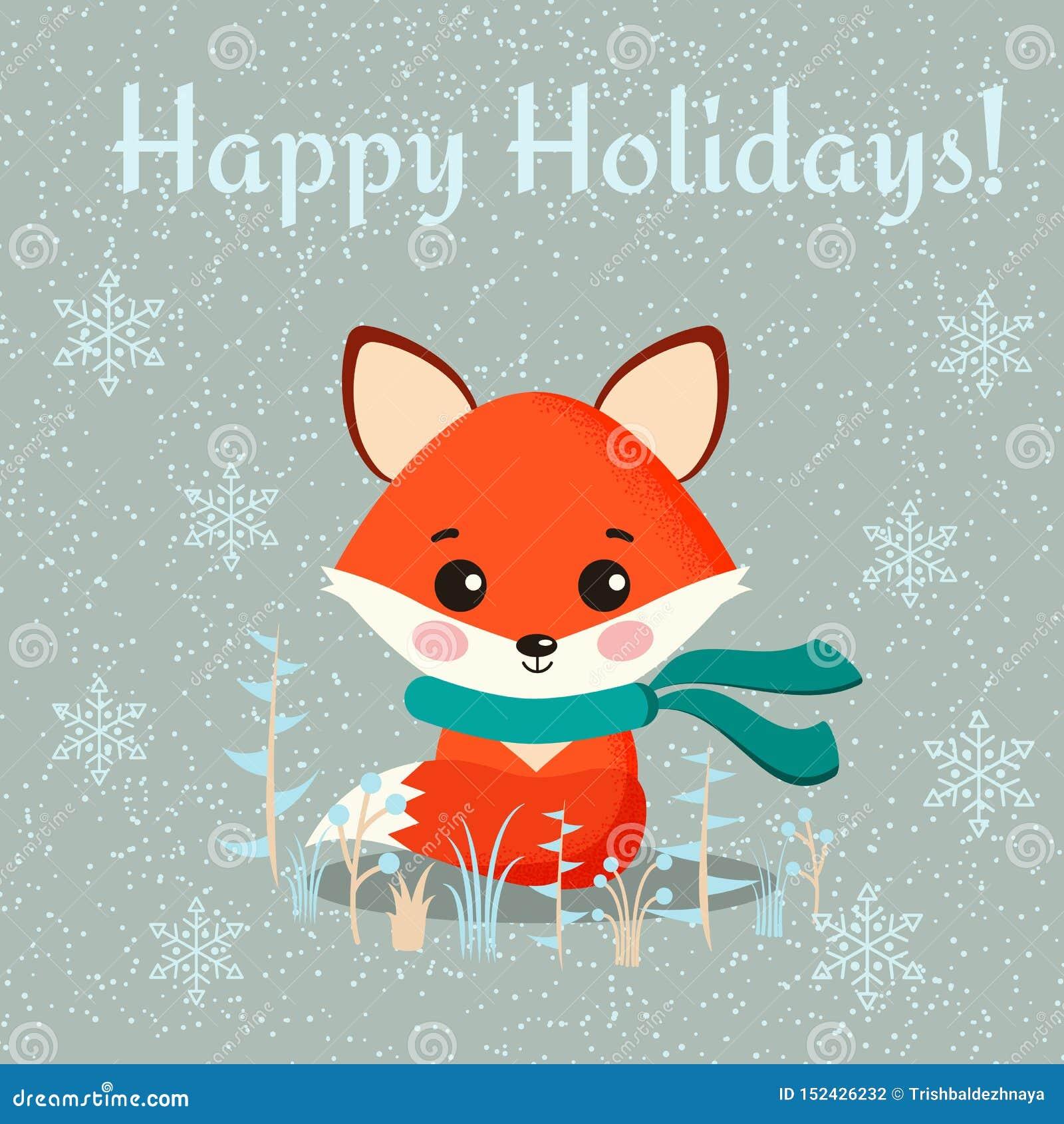 Carte de voeux avec le renard mignon avec des usines d écharpe et de wintee sur le fond neigeux
