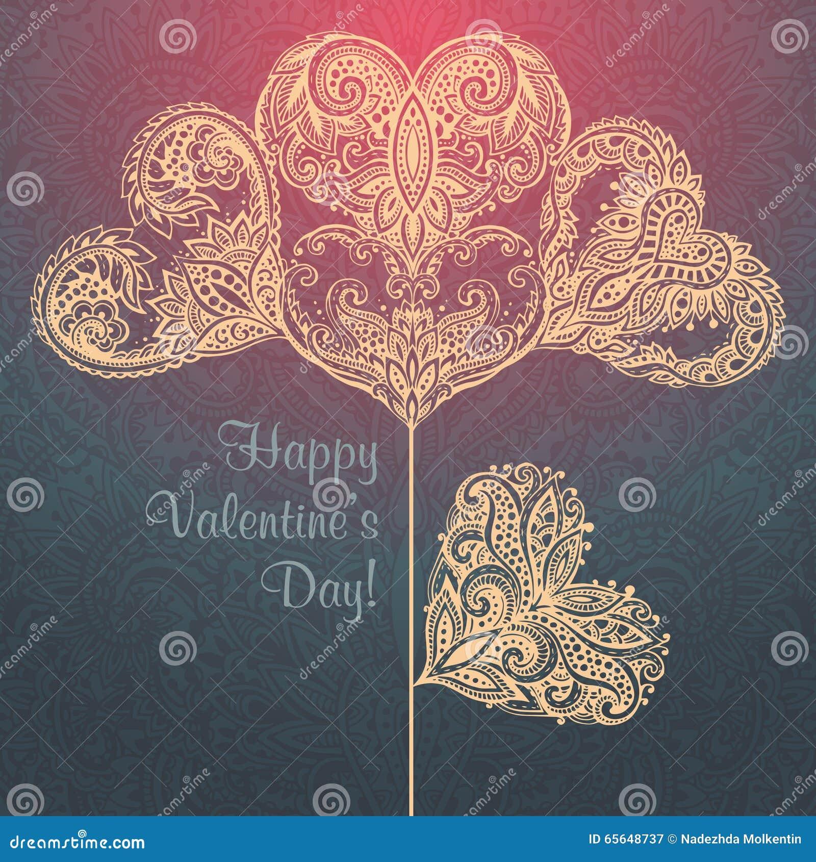 Carte de voeux avec les coeurs fleuris tirés par la main sous la forme de fleur