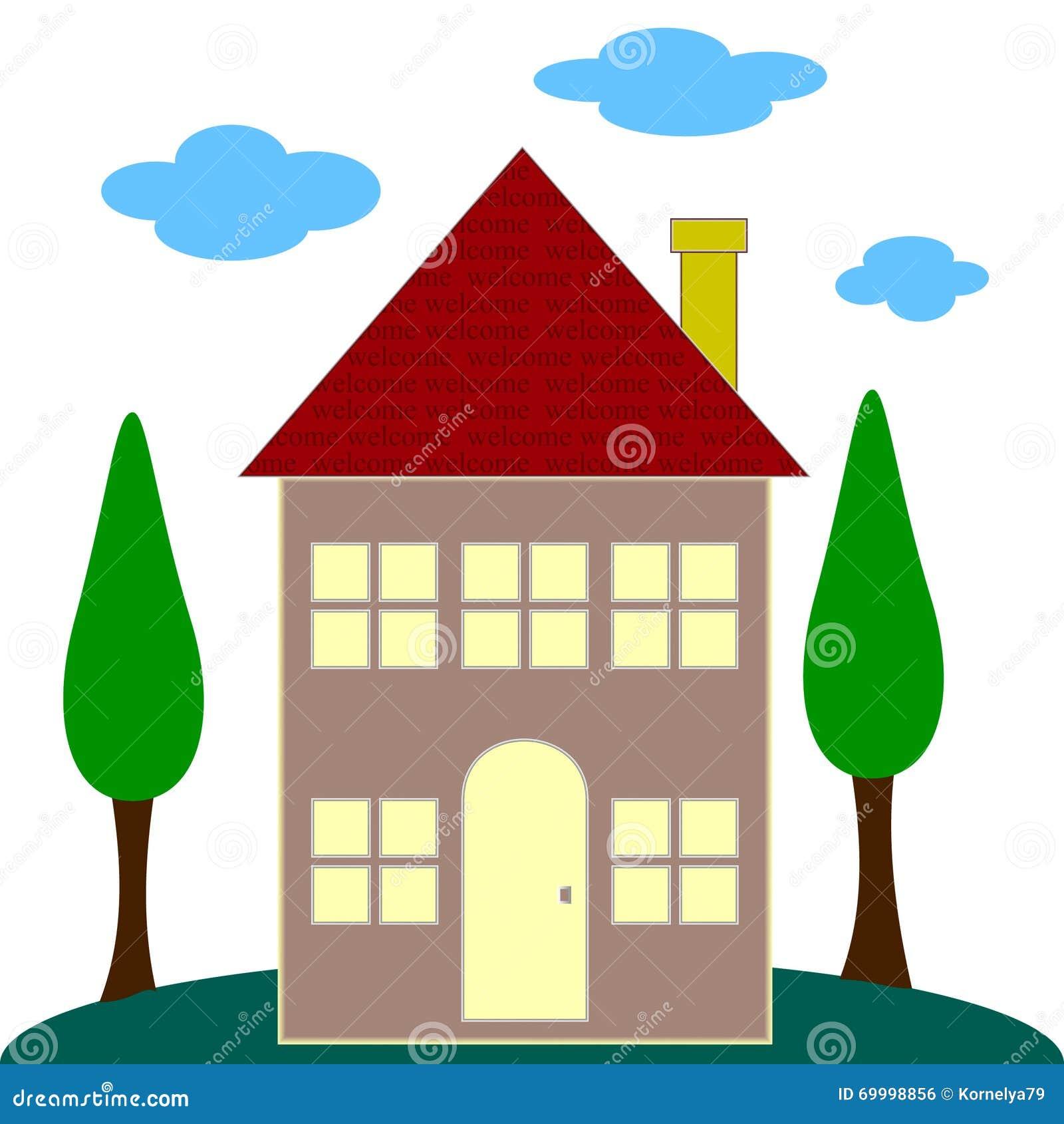 Carte de voeux bienvenue de nouvelle maison illustration - Carte de voeux maison ...