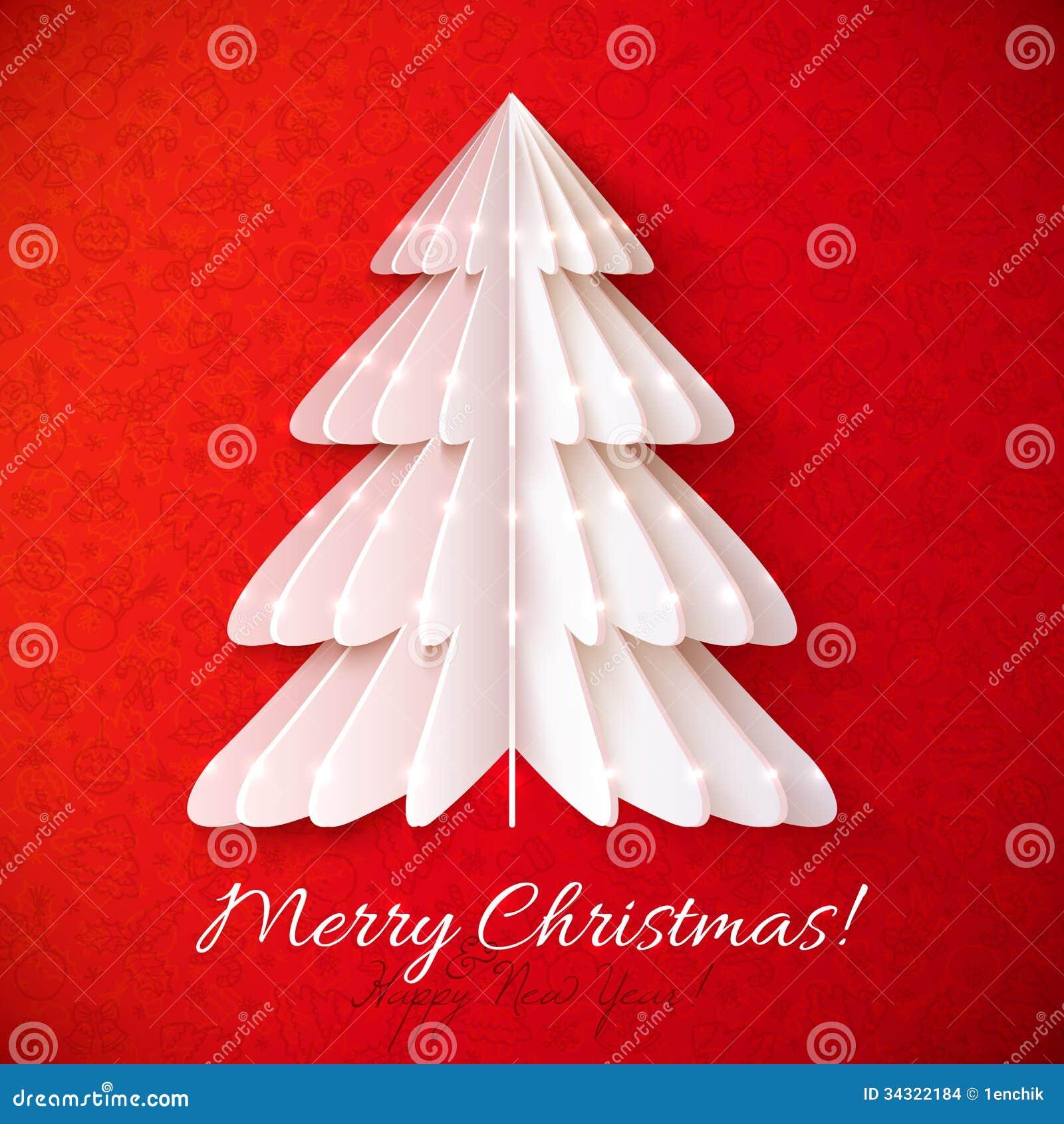 Carte de voeux blanche de vecteur d 39 arbre de no l d 39 origami images stock image 34322184 - Arbre de noel origami ...