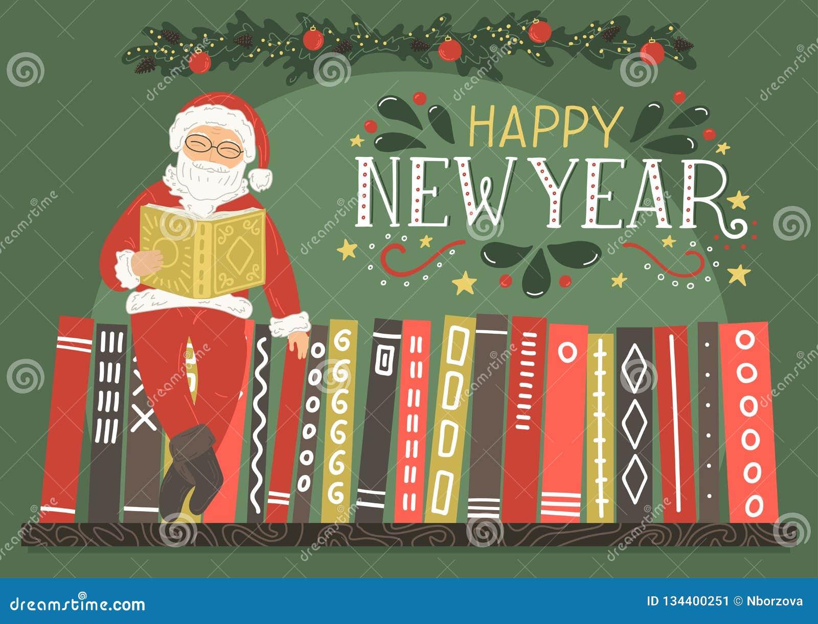 Carte de voeux de bonne année Livre de lecture de Santa Claus
