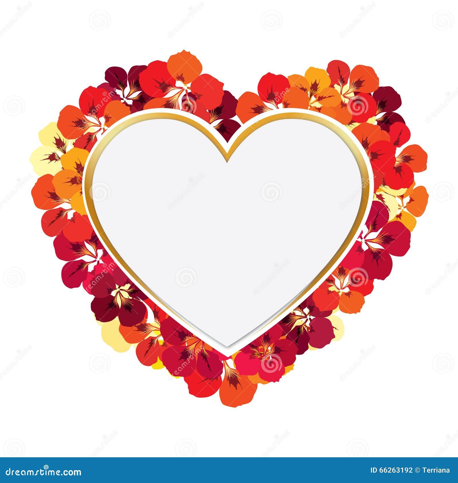 Carte De Voeux Cadre De Fleur Avec La Forme De Coeur D Amour