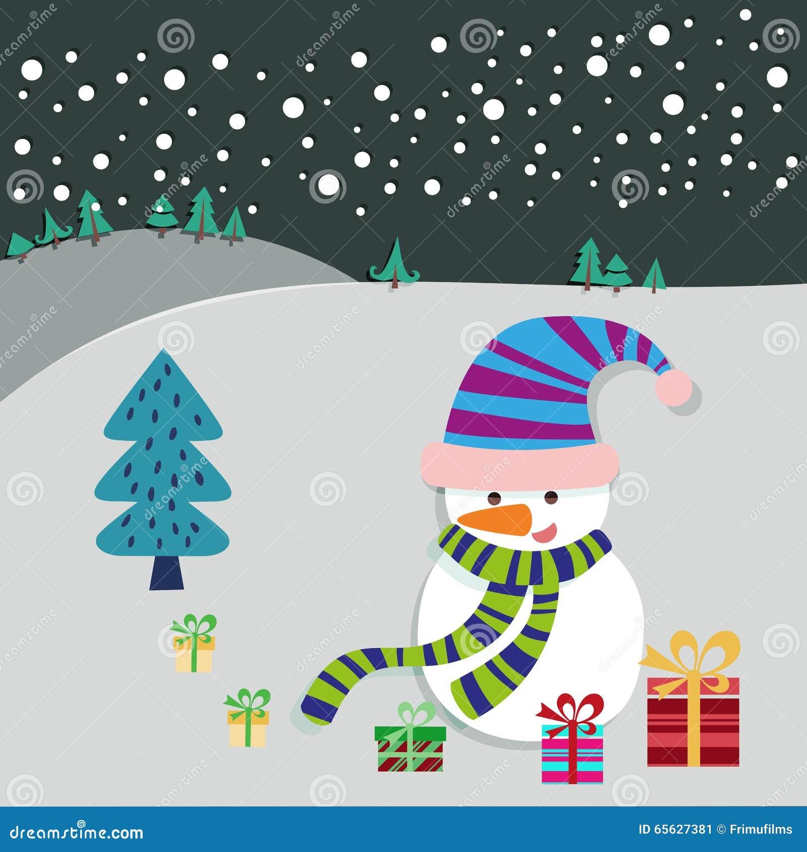 Carte de voeux d arbre de bonhomme de neige et de Noël